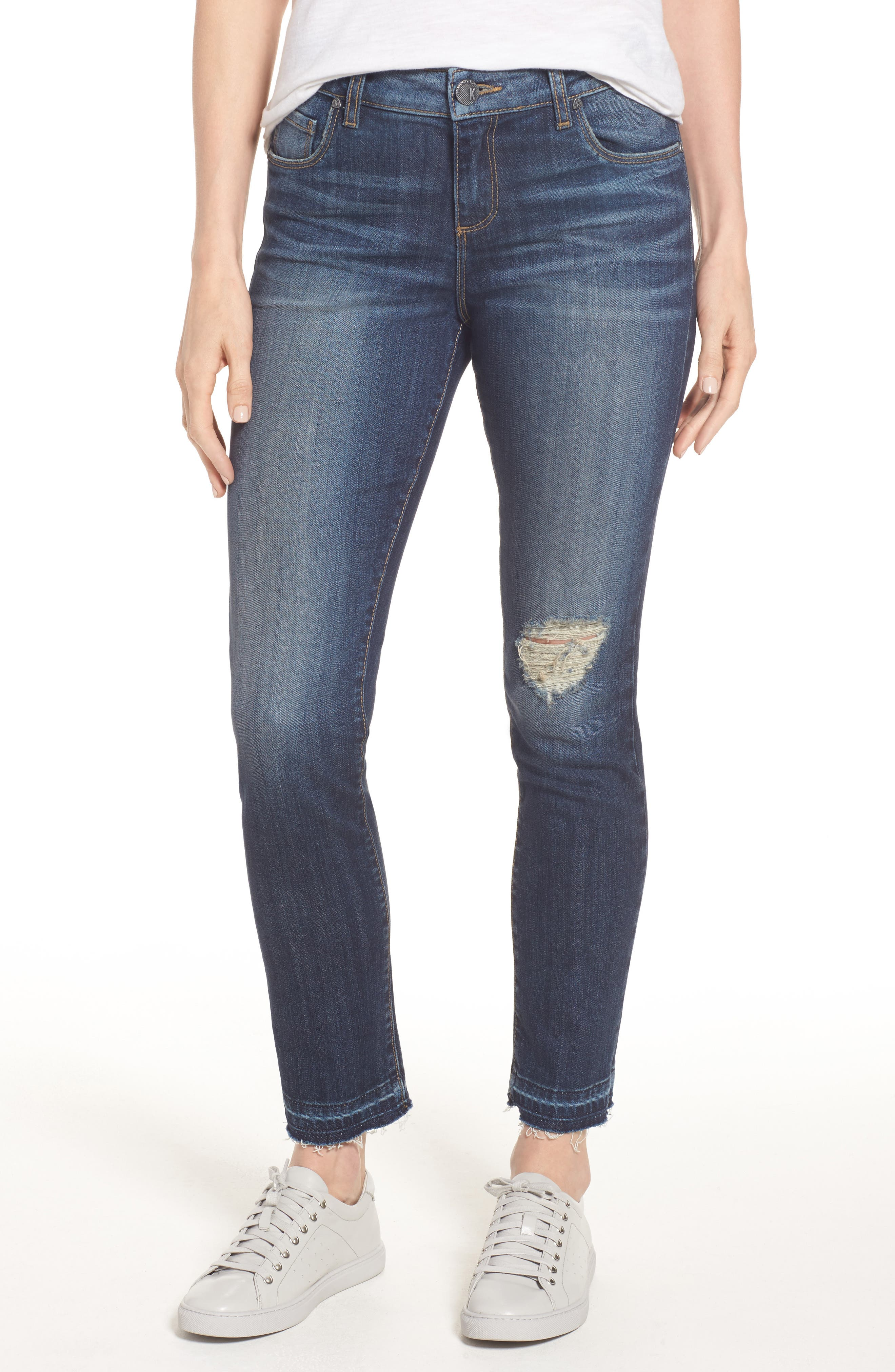 KUT from the Kloth Ripped Reese Straight Leg Ankle Jeans (Musical) (Regular & Petite)
