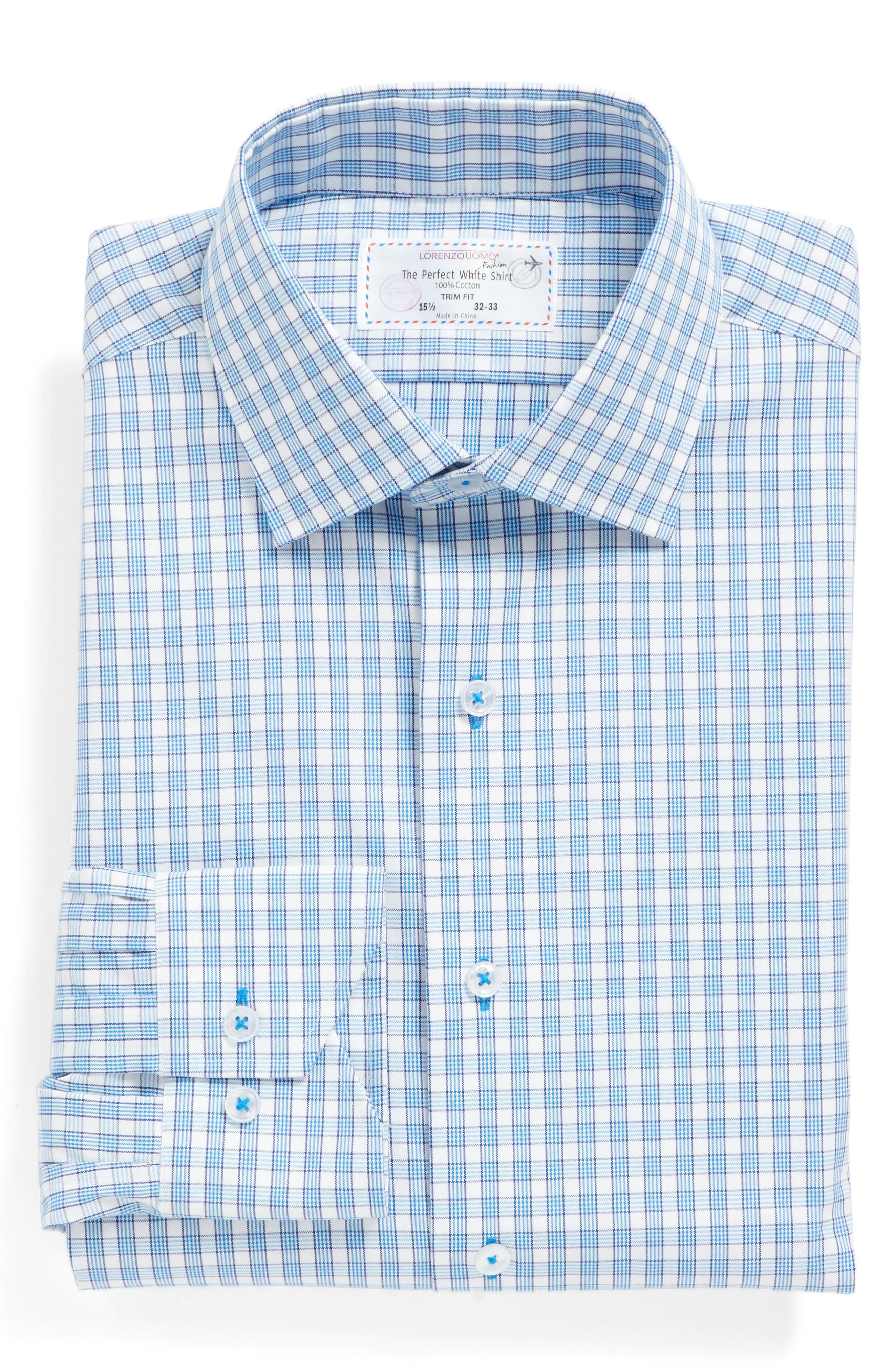 Trim Fit Plaid Dress Shirt,                             Alternate thumbnail 4, color,                             Light Blue/ White