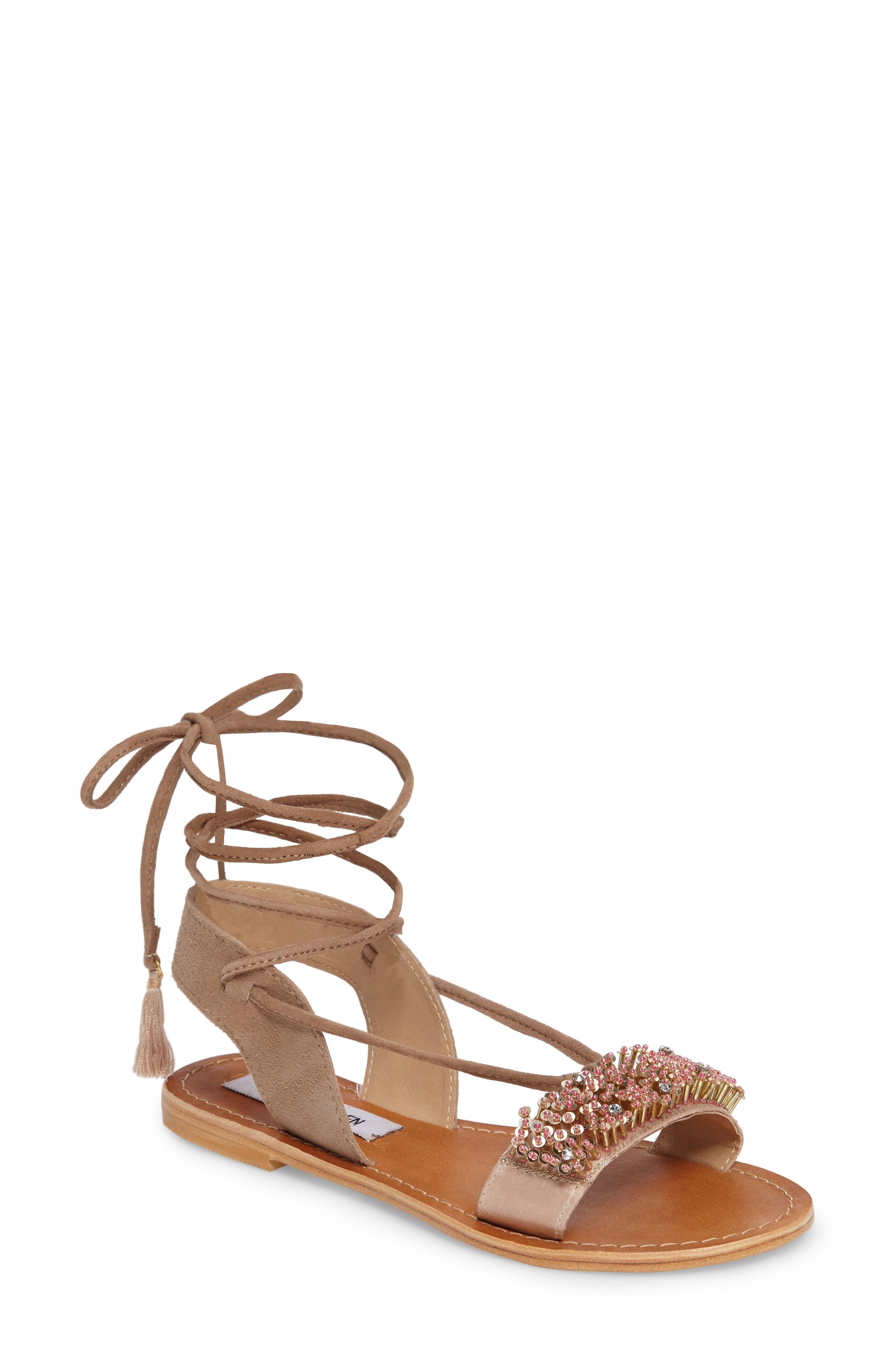 STEVE MADDEN Hope Embellished Wraparound Sandal