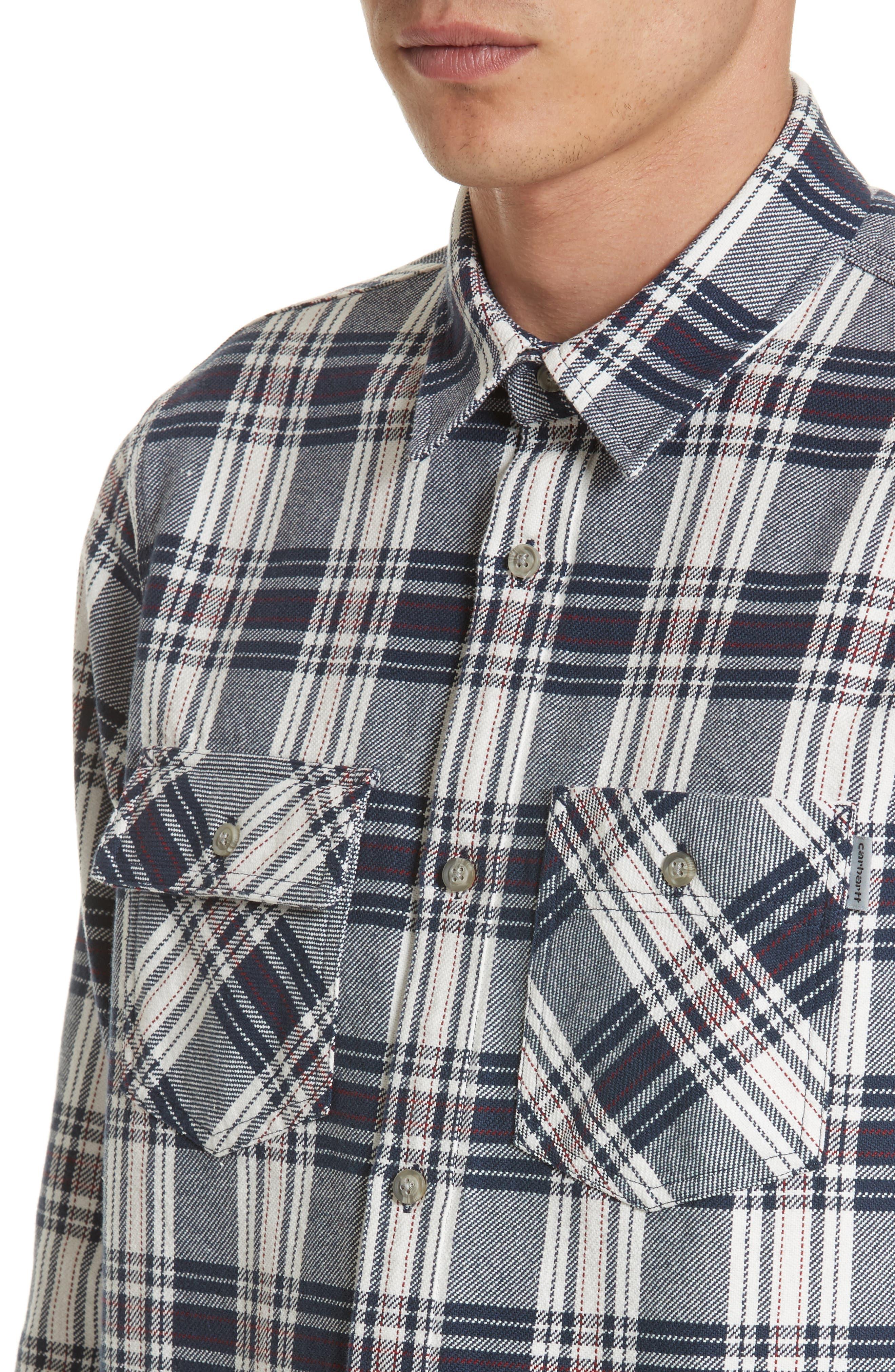 Twill Flannel Shirt,                             Alternate thumbnail 5, color,                             Snow/ Blue