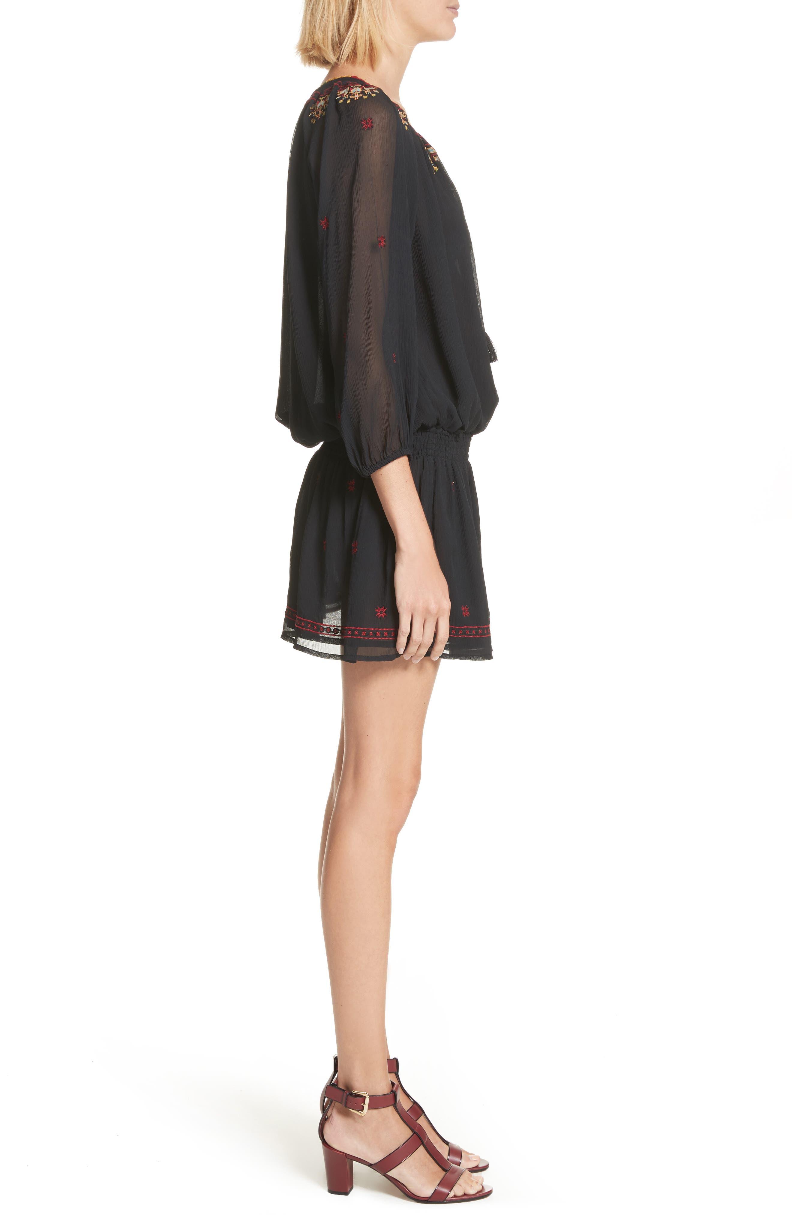 Geromine Blouson Silk Dress,                             Alternate thumbnail 3, color,                             Caviar