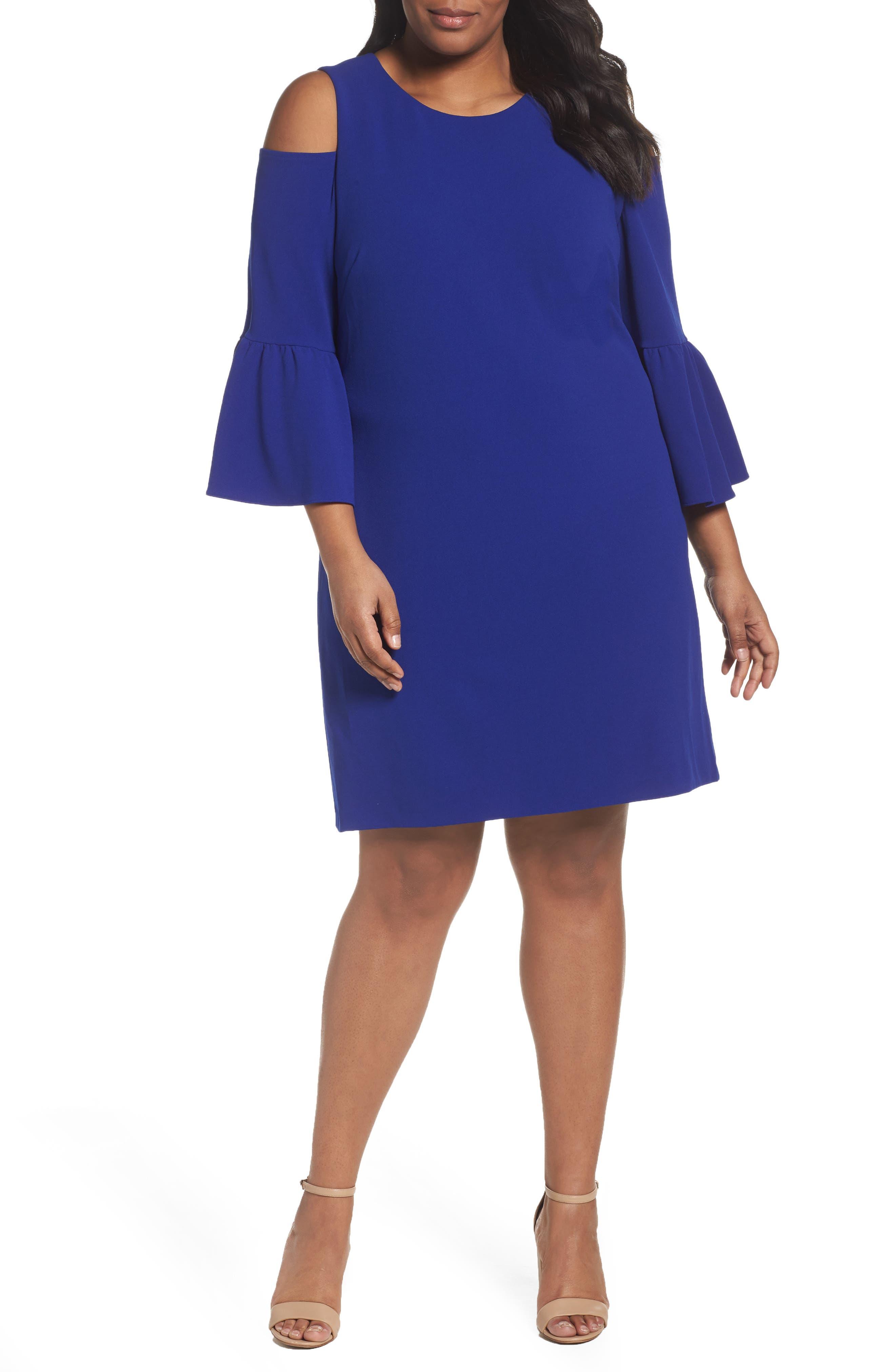 Eliza J Cold Shoulder Crepe Dress (Plus Size)