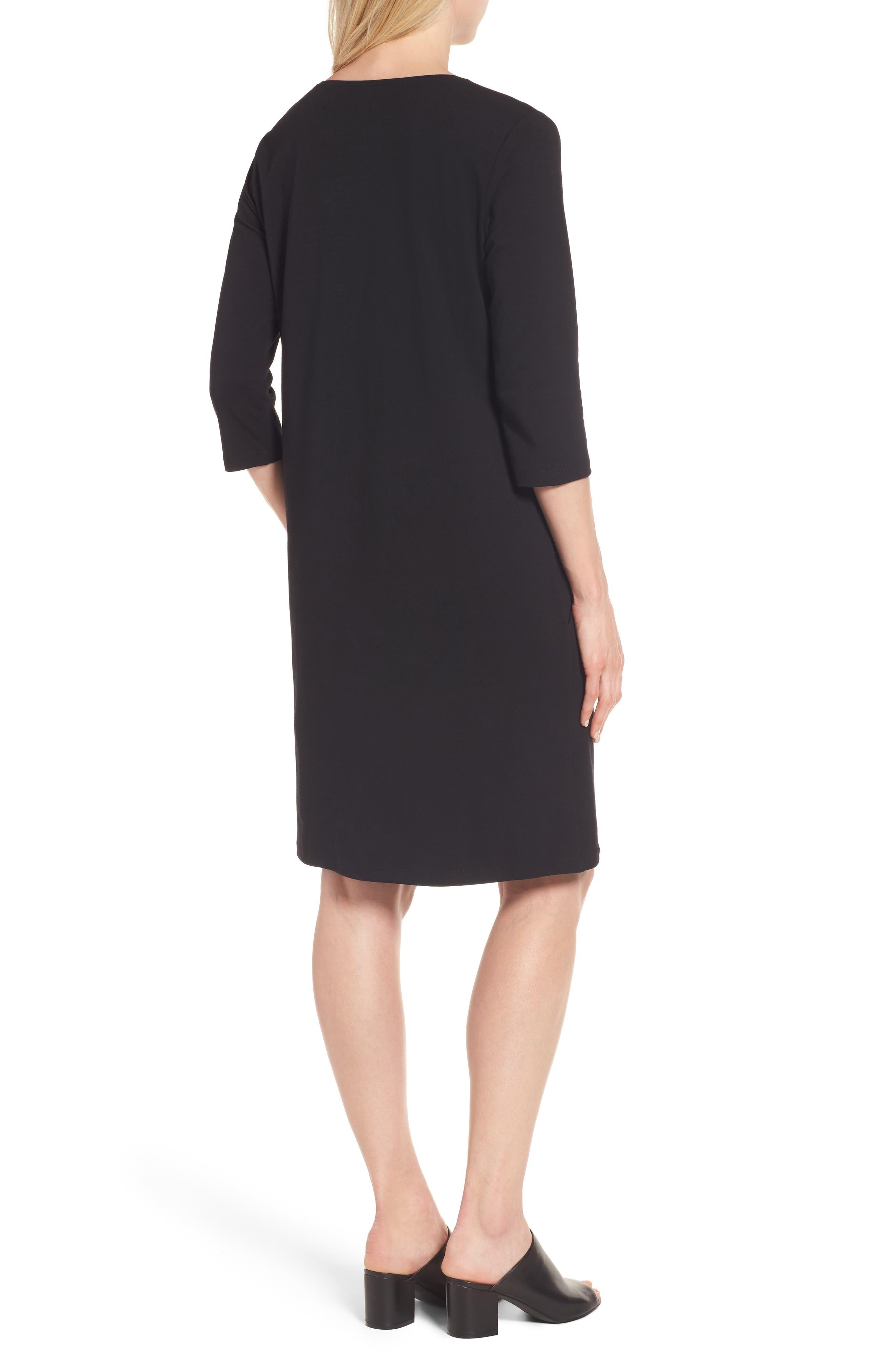 Stretch Organic Cotton Jersey Shift Dress,                             Alternate thumbnail 2, color,                             Black