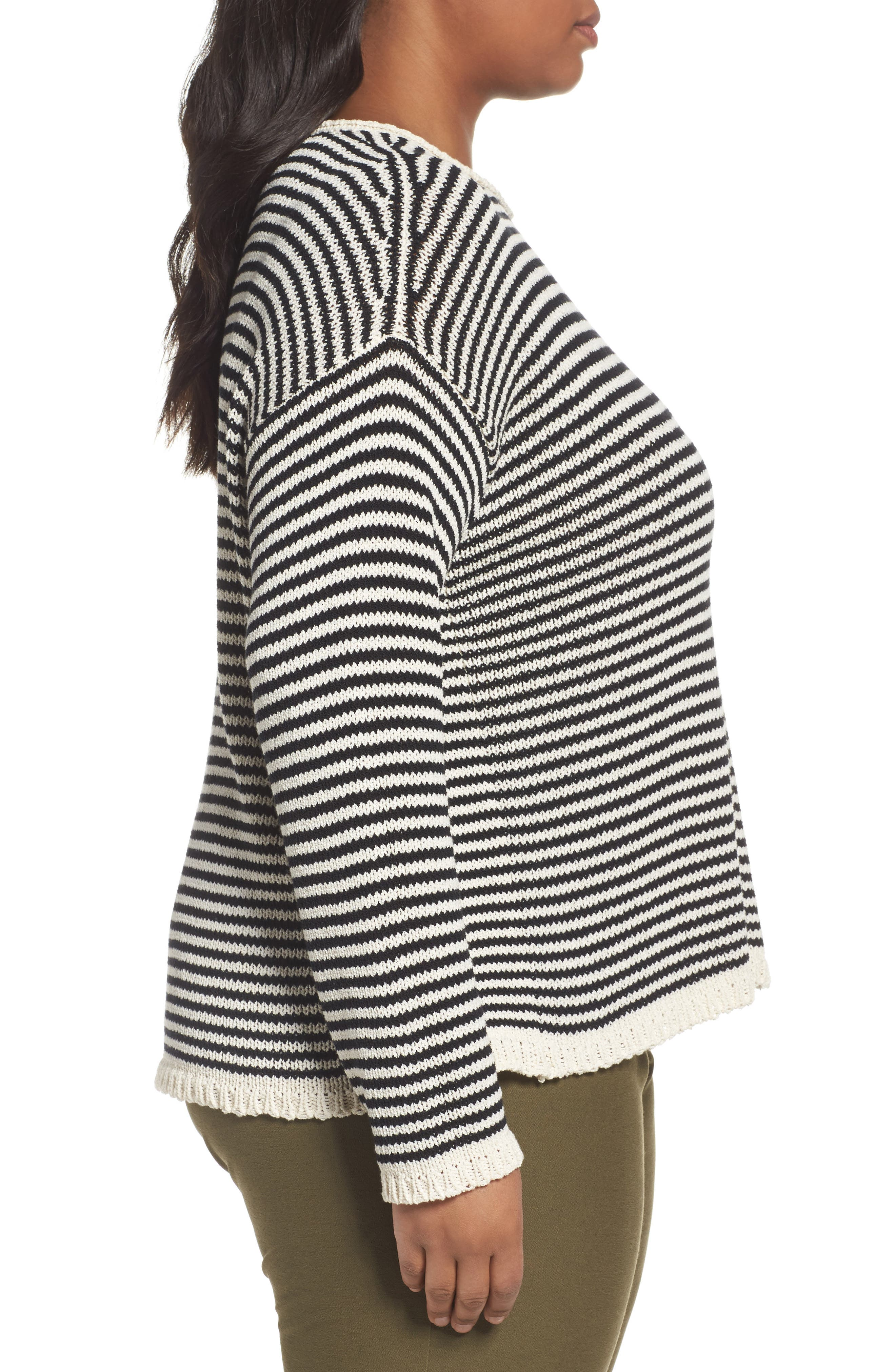 Stripe Cotton Blend Knit Top,                             Alternate thumbnail 3, color,                             Black