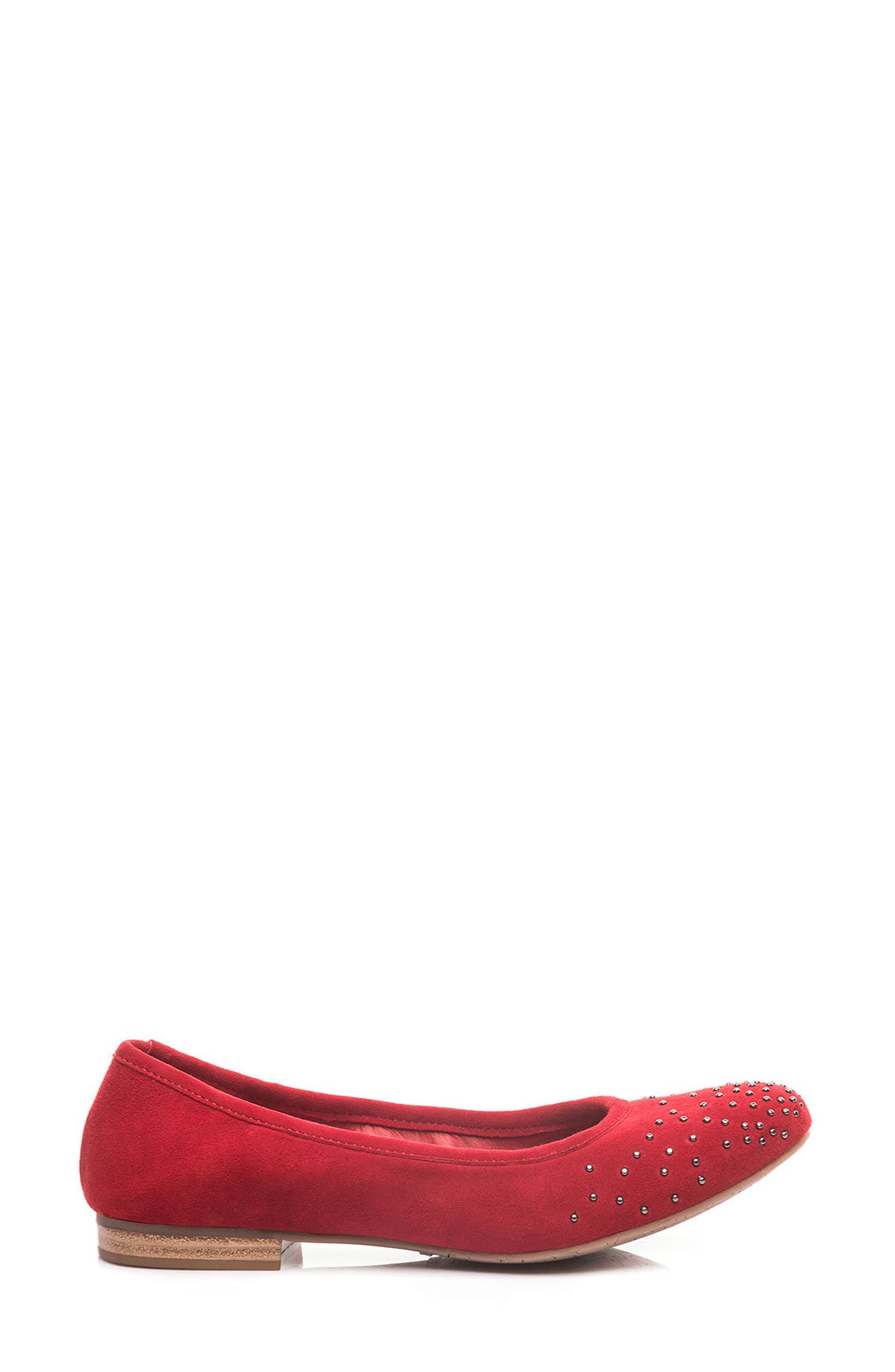 Dallas Studded Flat,                             Alternate thumbnail 3, color,                             Red Suede