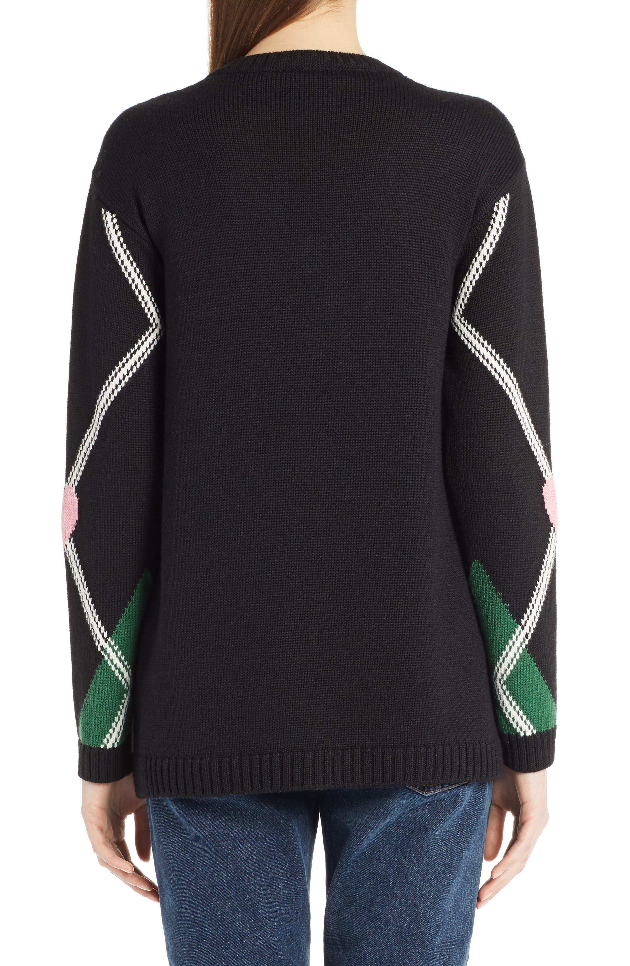Argyle Heart Sweater,                             Alternate thumbnail 3, color,                             Black