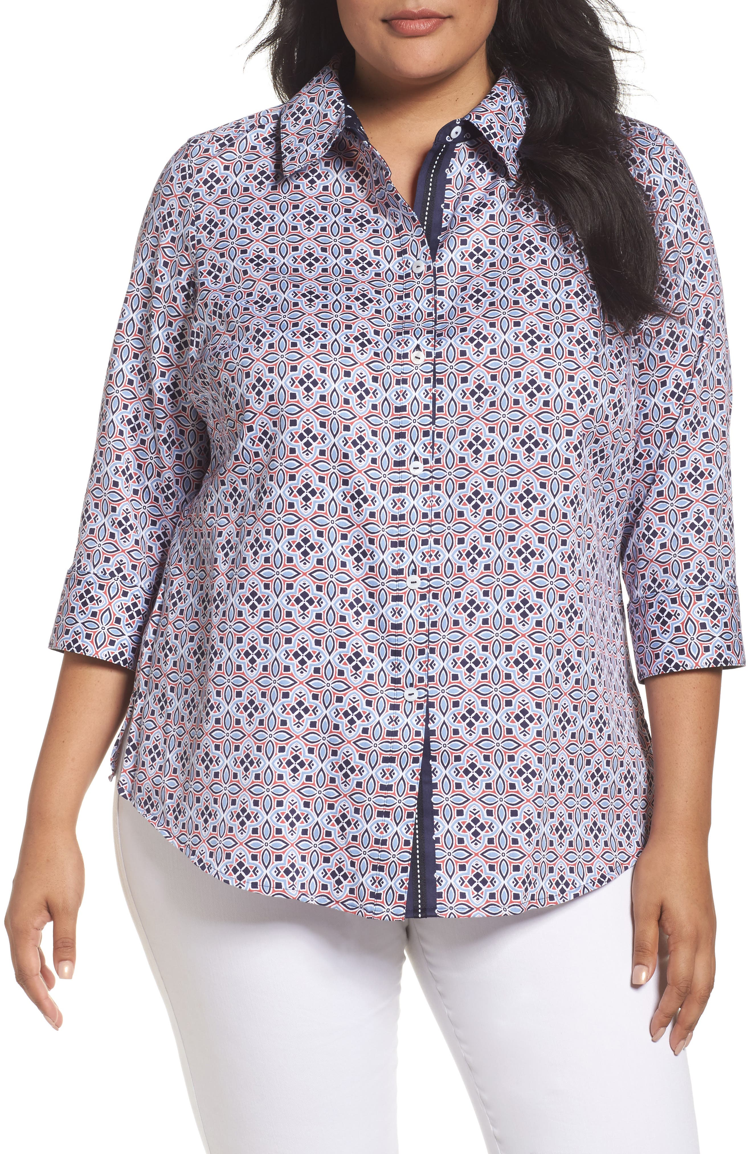 Alternate Image 1 Selected - Foxcroft Ava Non-Iron Tile Print Cotton Shirt (Plus Size)
