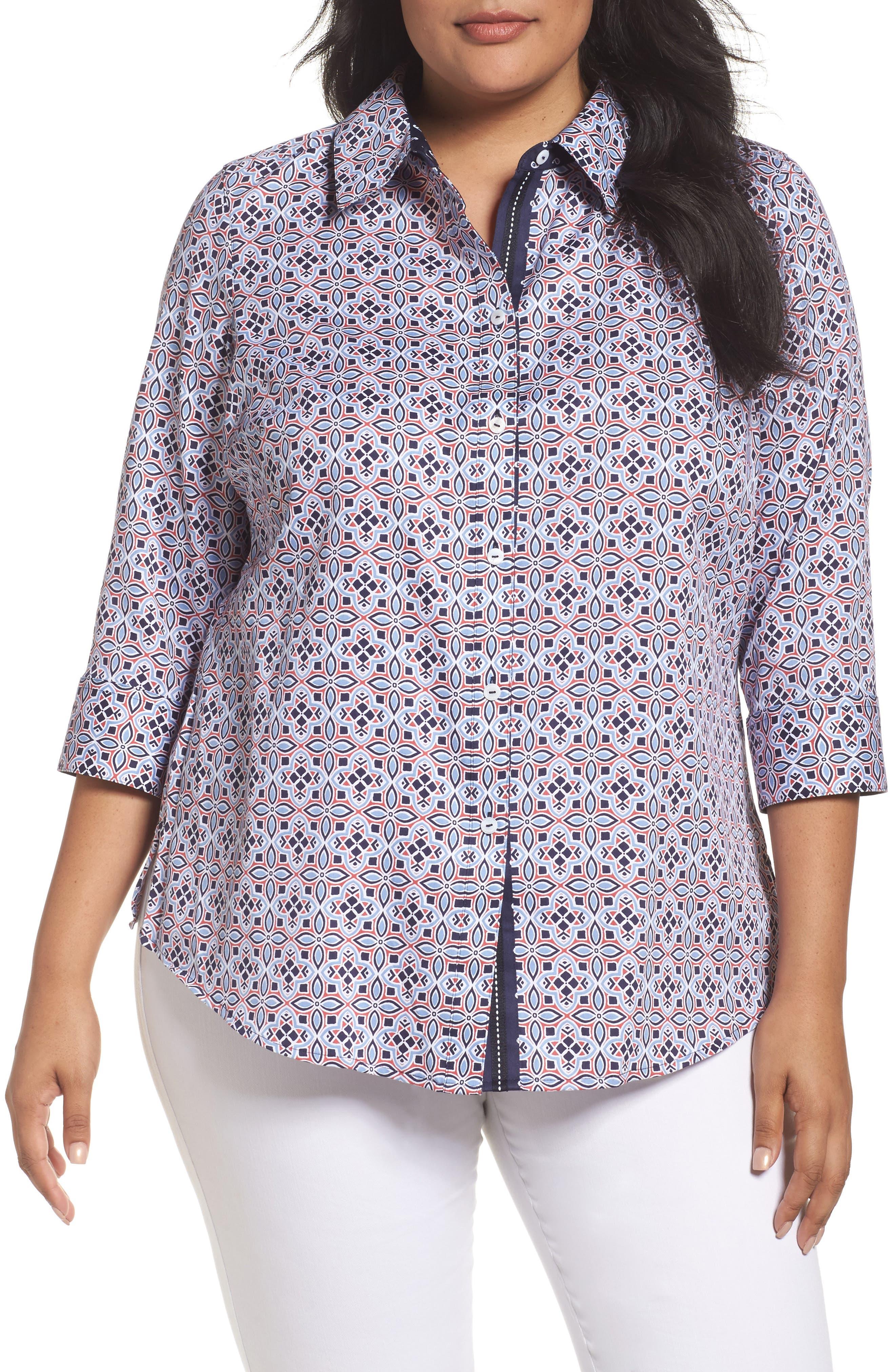 Main Image - Foxcroft Ava Non-Iron Tile Print Cotton Shirt (Plus Size)