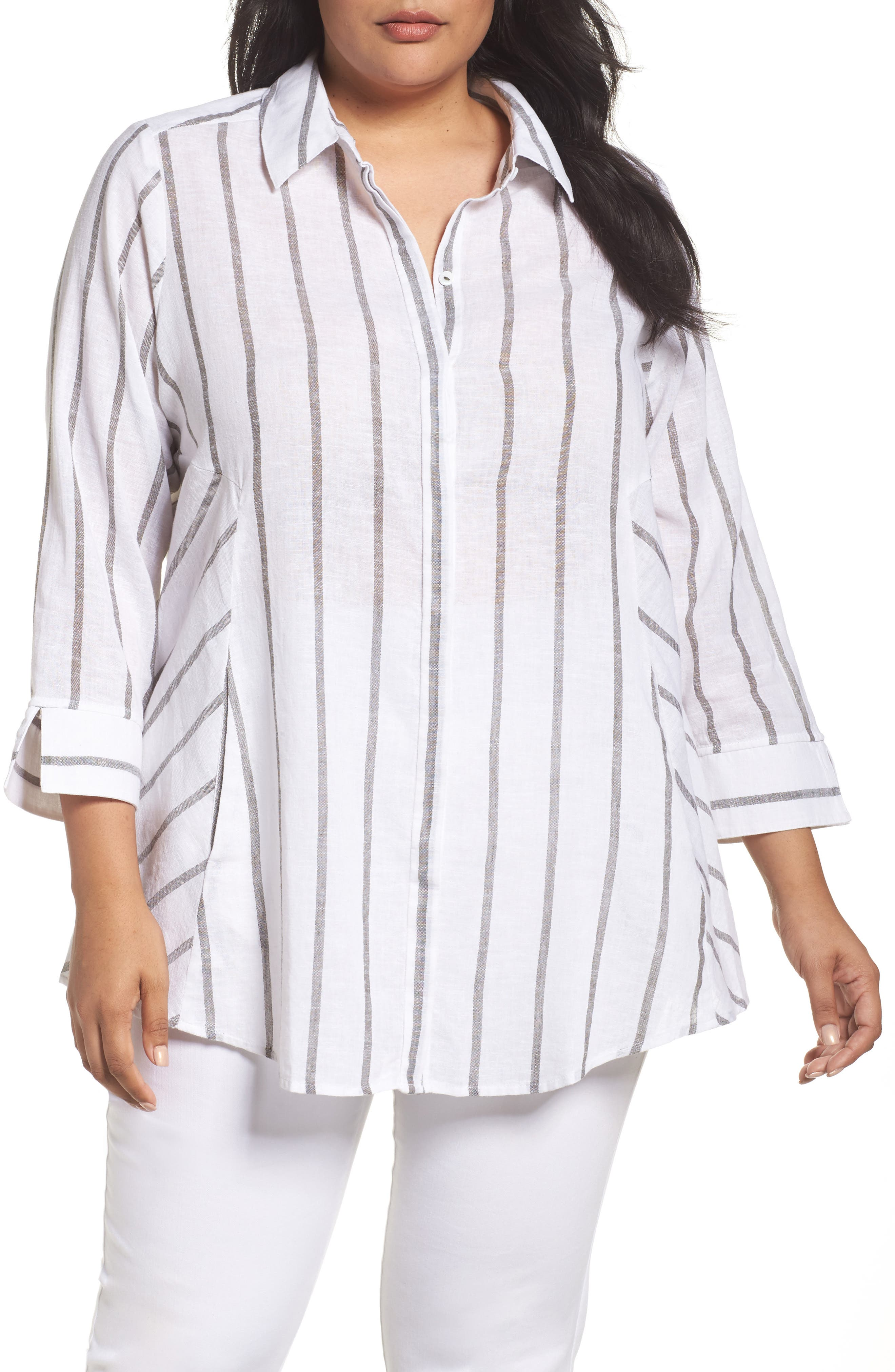 Foxcroft Cici Summer Stripe Tunic (Plus Size)