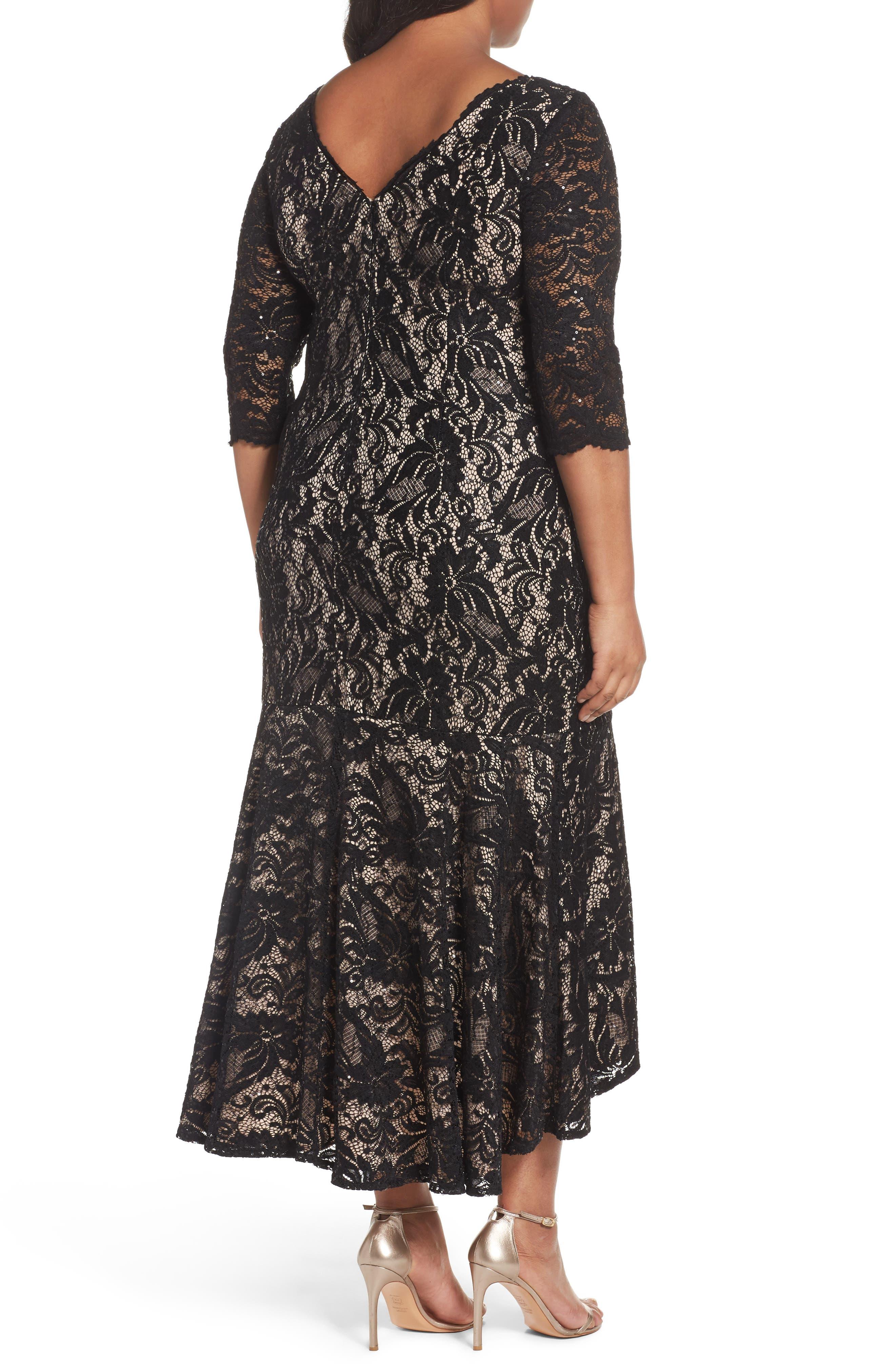 Alternate Image 2  - Alex Evenings High/Low Lace Mermaid Dress (Plus Size)