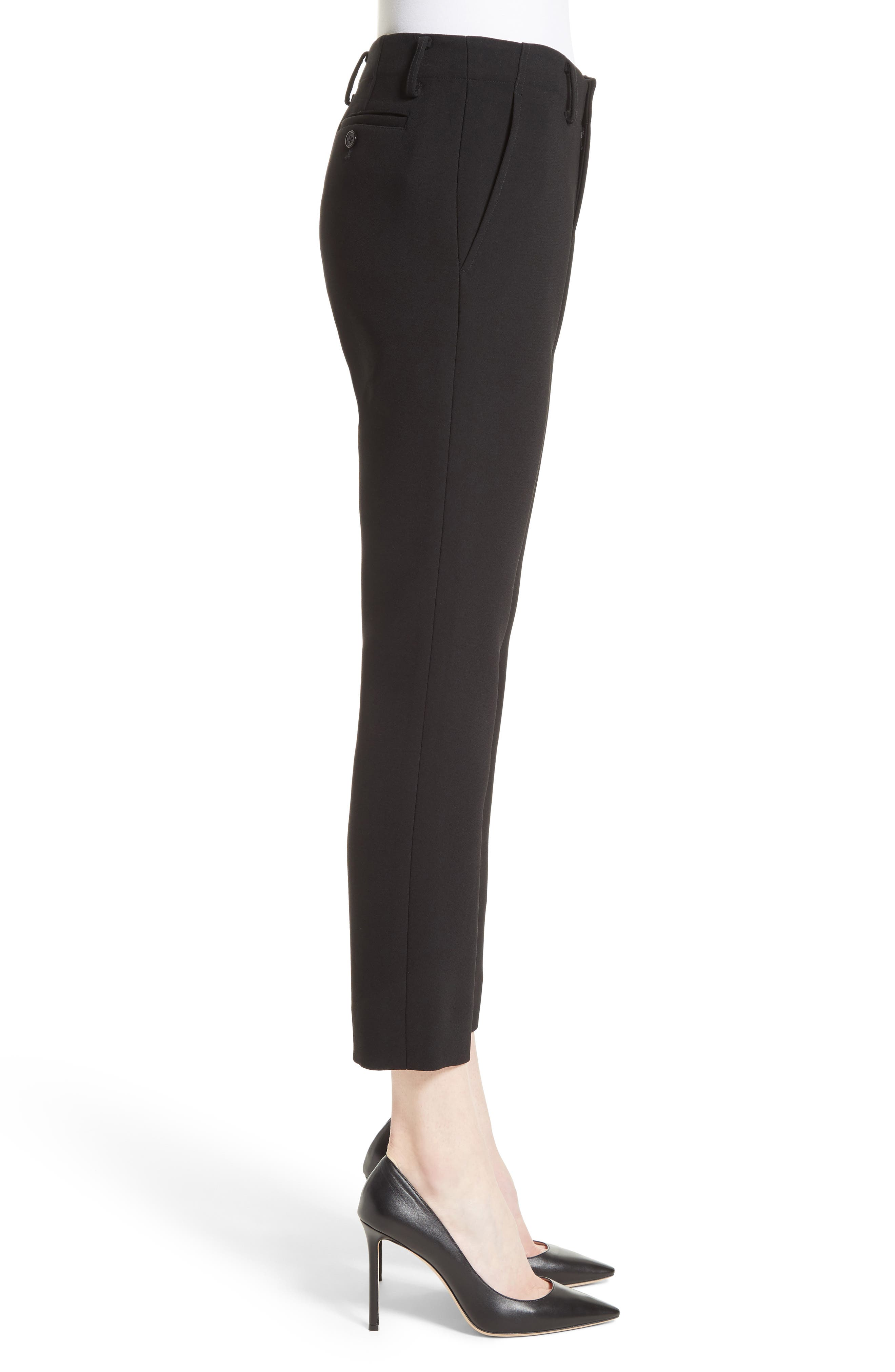 Crop Cigarette Pants,                             Alternate thumbnail 5, color,                             Black