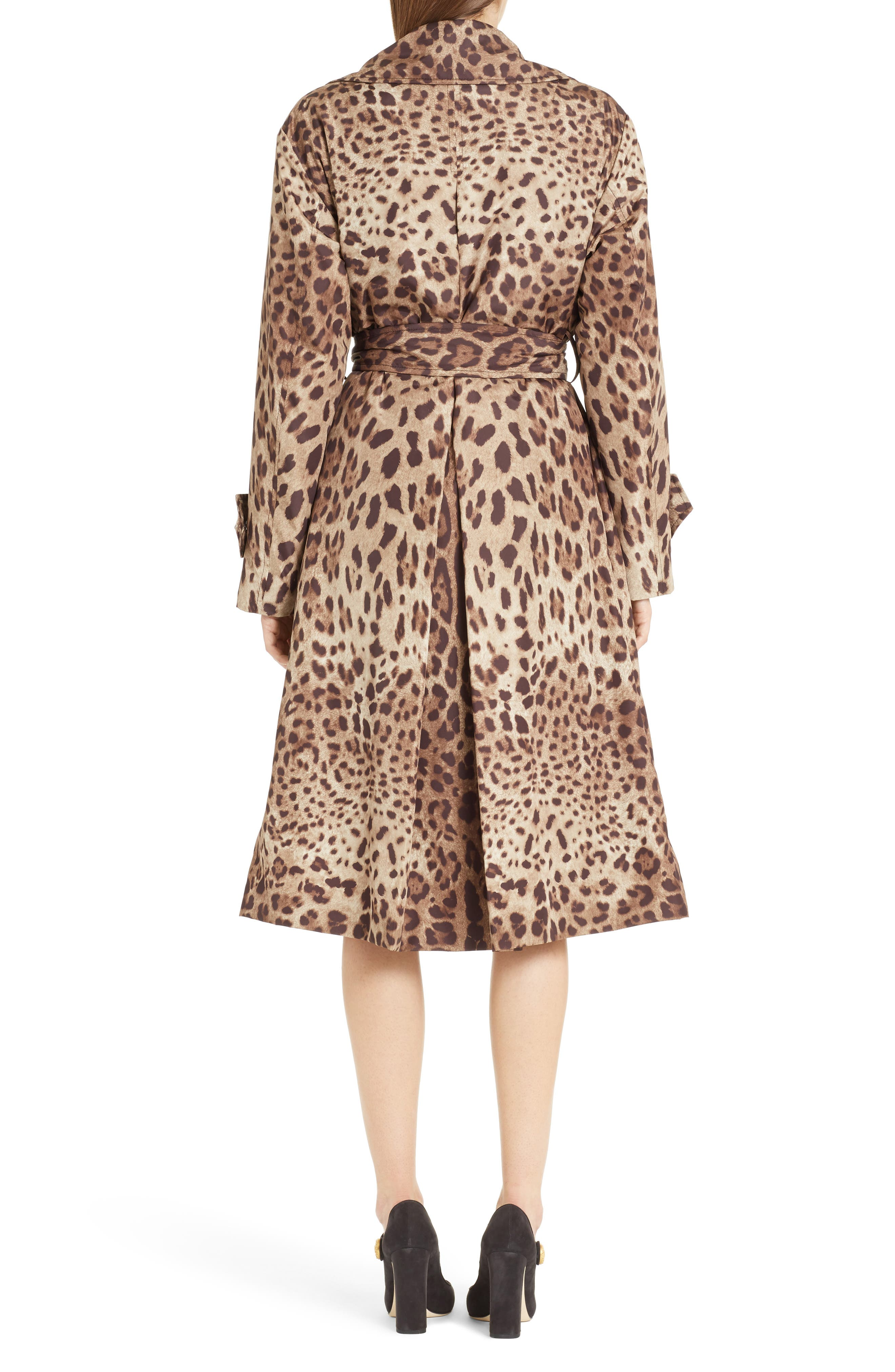 Leopard Print Trench Coat,                             Alternate thumbnail 2, color,                             Leopard