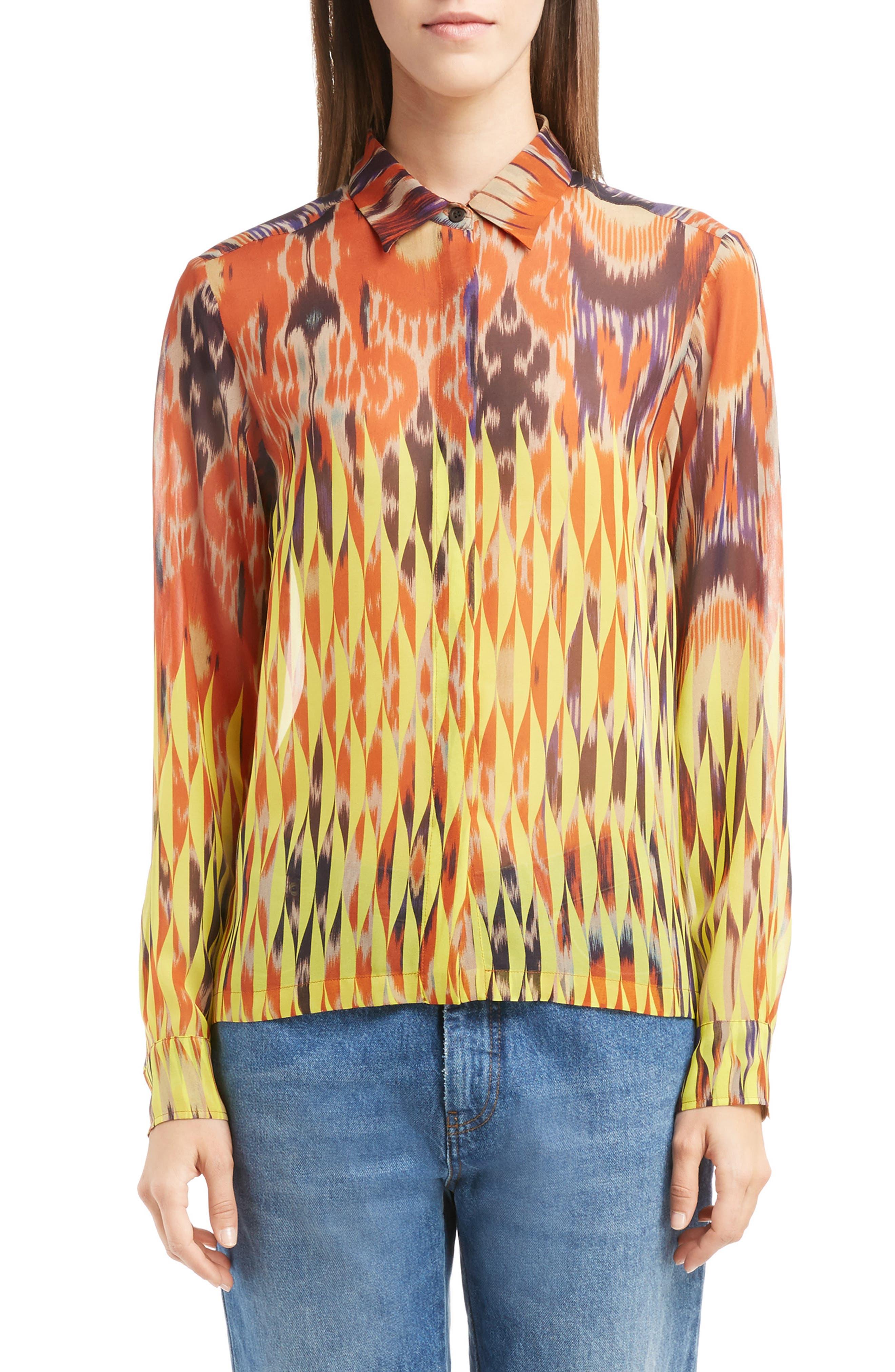 Alternate Image 1 Selected - Dries Van Noten Sheer Ikat Silk Blouse