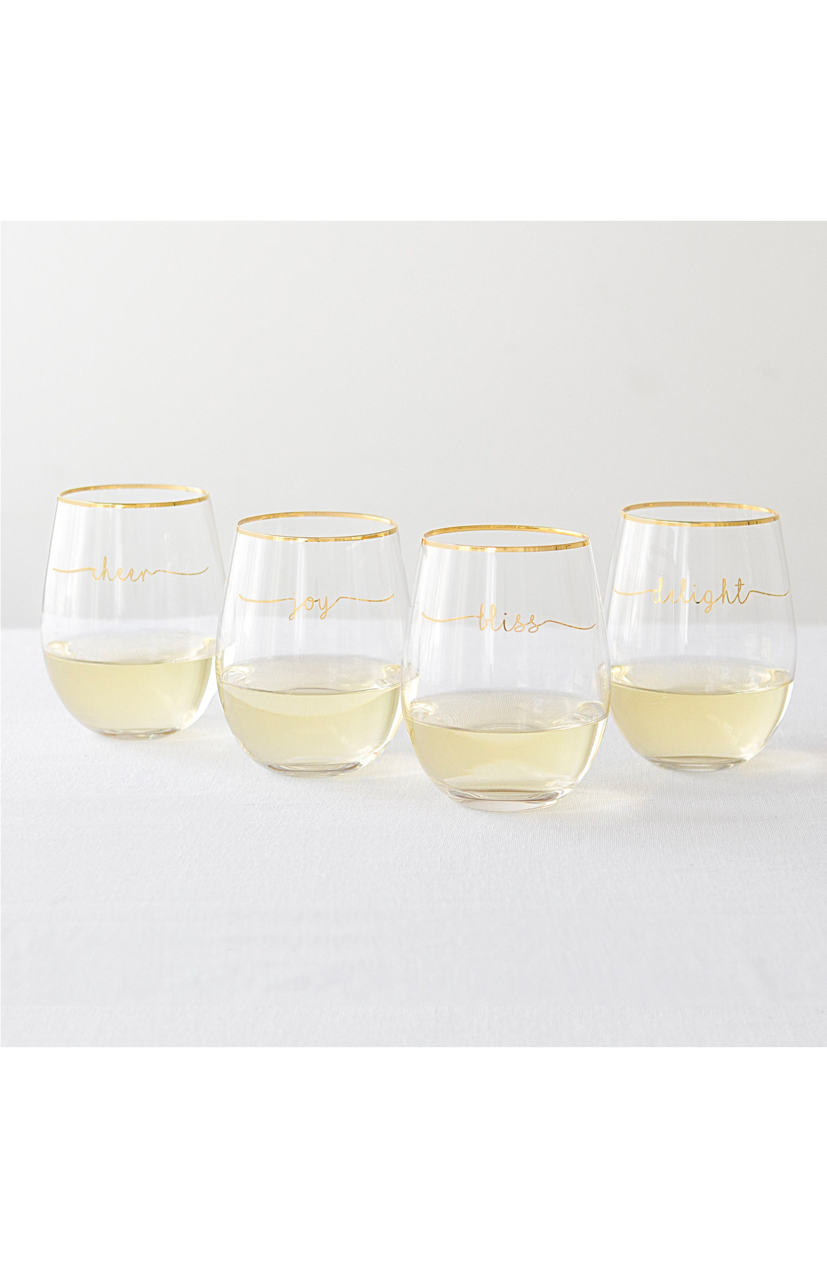 Bliss Set of 4 Stemless Wine Glasses,                         Main,                         color, Gold