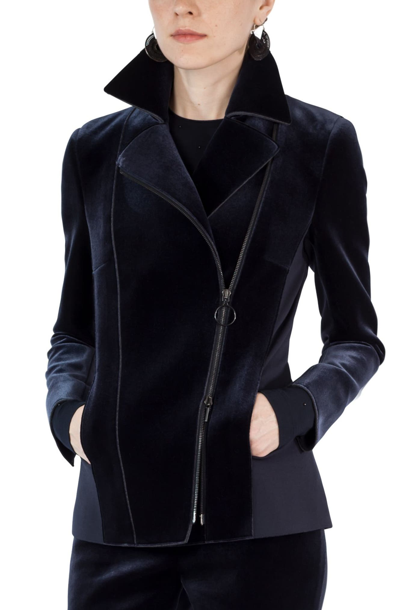 Alternate Image 1 Selected - Akris punto Velvet & Jersey Moto Jacket