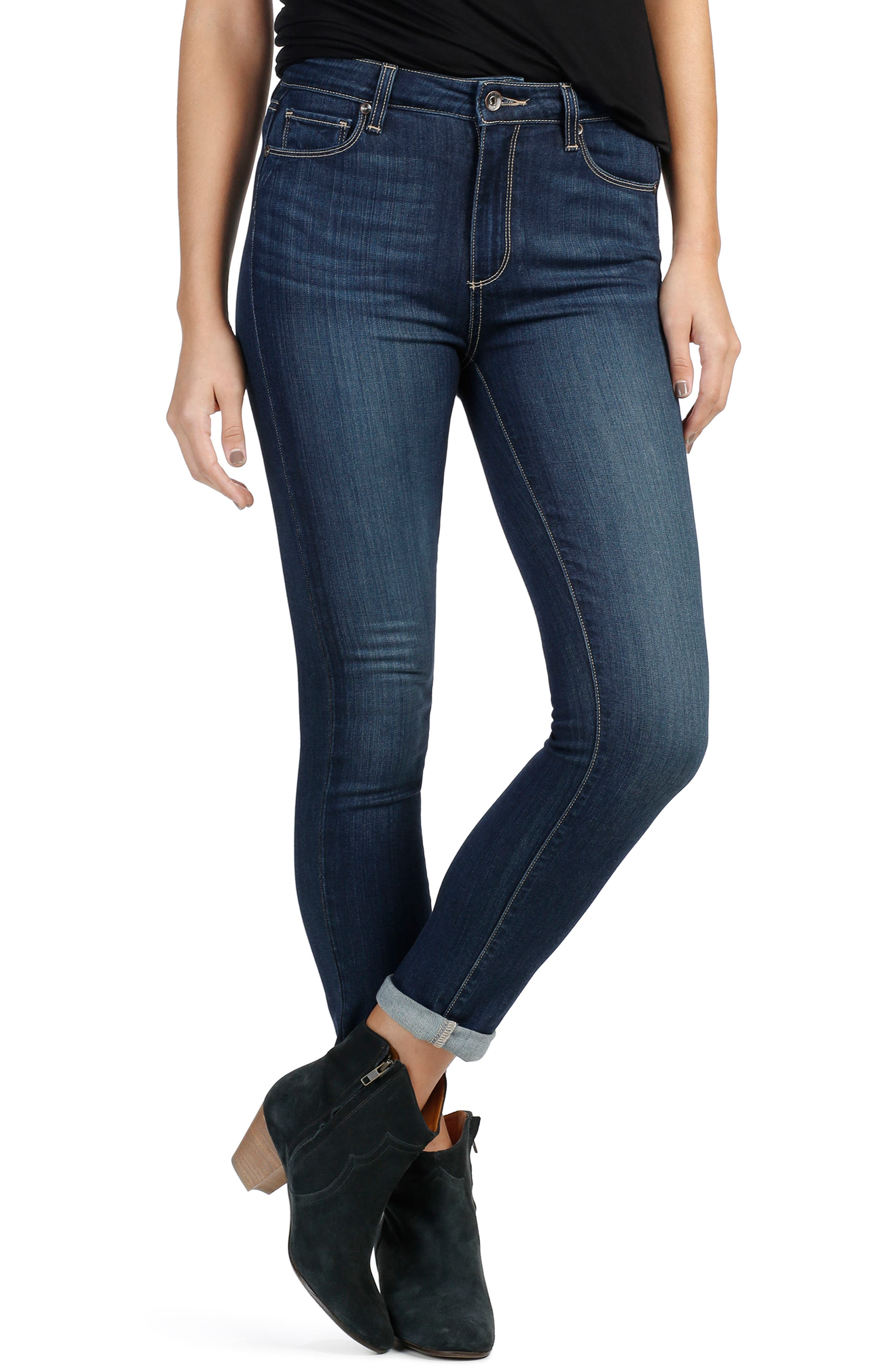 Alternate Image 1 Selected - PAIGE Transcend - Hoxton High Waist Crop Skinny Jeans (Drift)