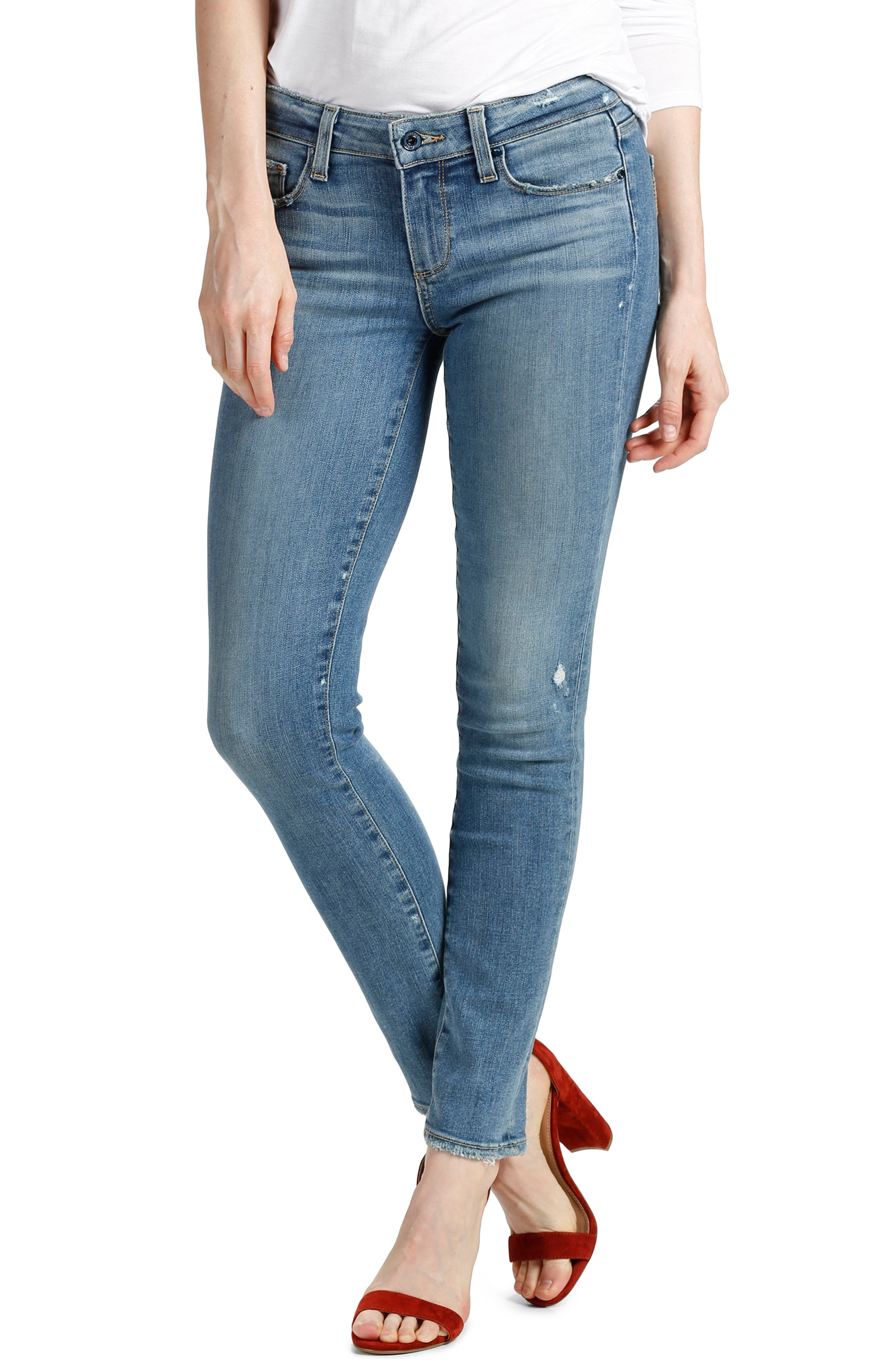 Main Image - PAIGE Transcend - Skyline Ankle Peg Skinny Jeans (Sienna)