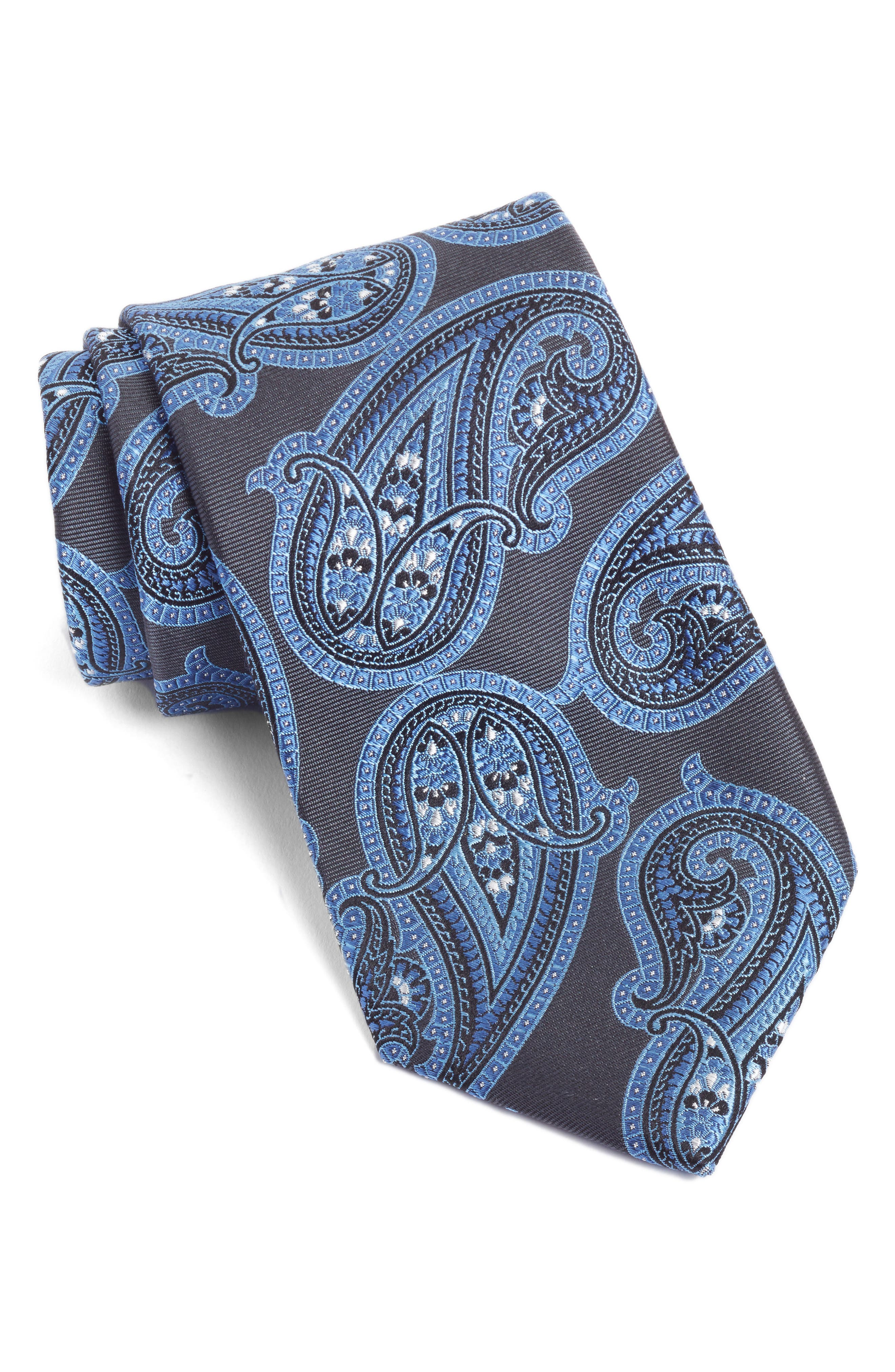 Paisley Silk Tie,                             Main thumbnail 1, color,                             Grey/ Blue