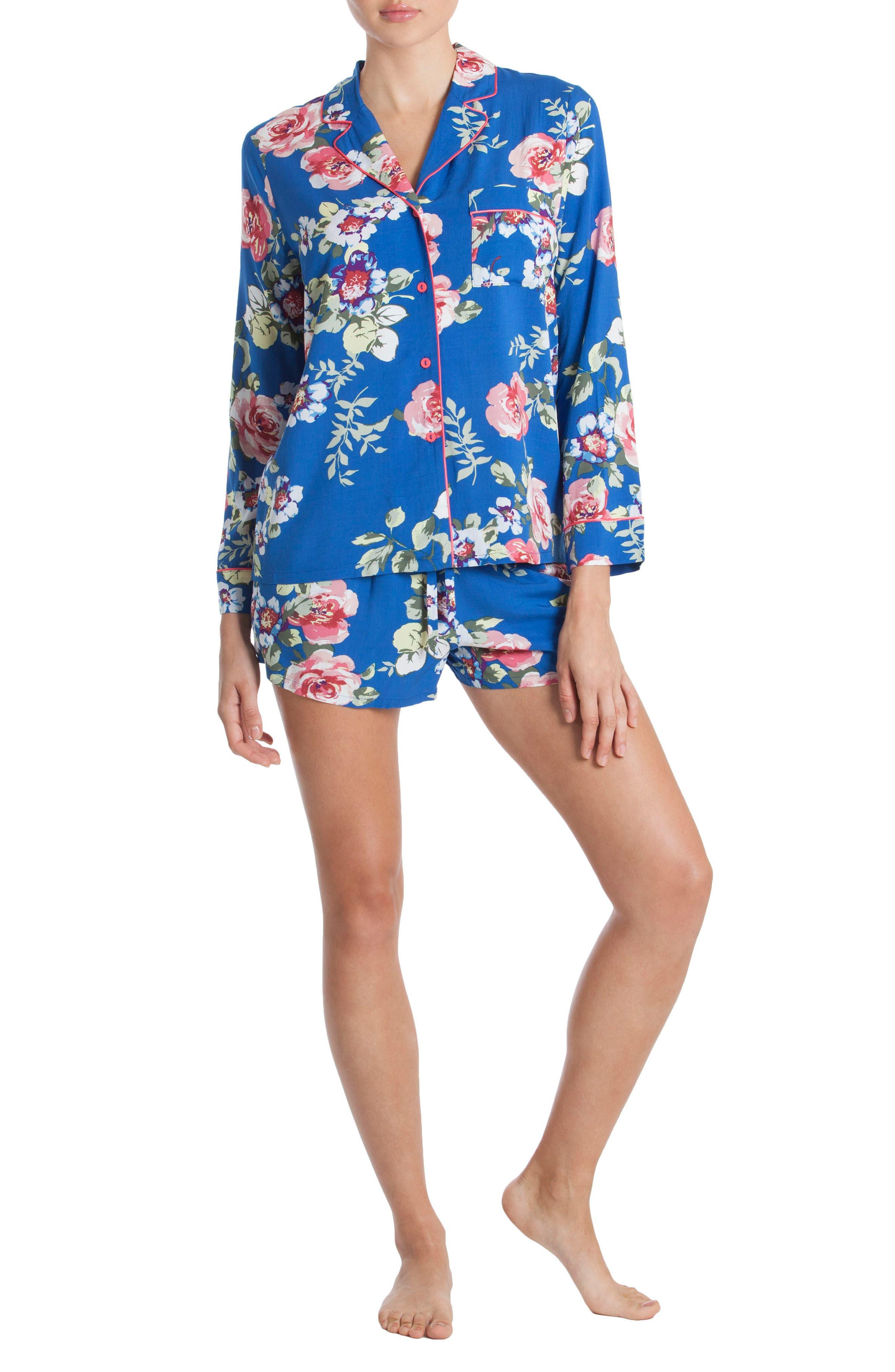 Short Pajamas,                             Alternate thumbnail 4, color,                             Blue Floral