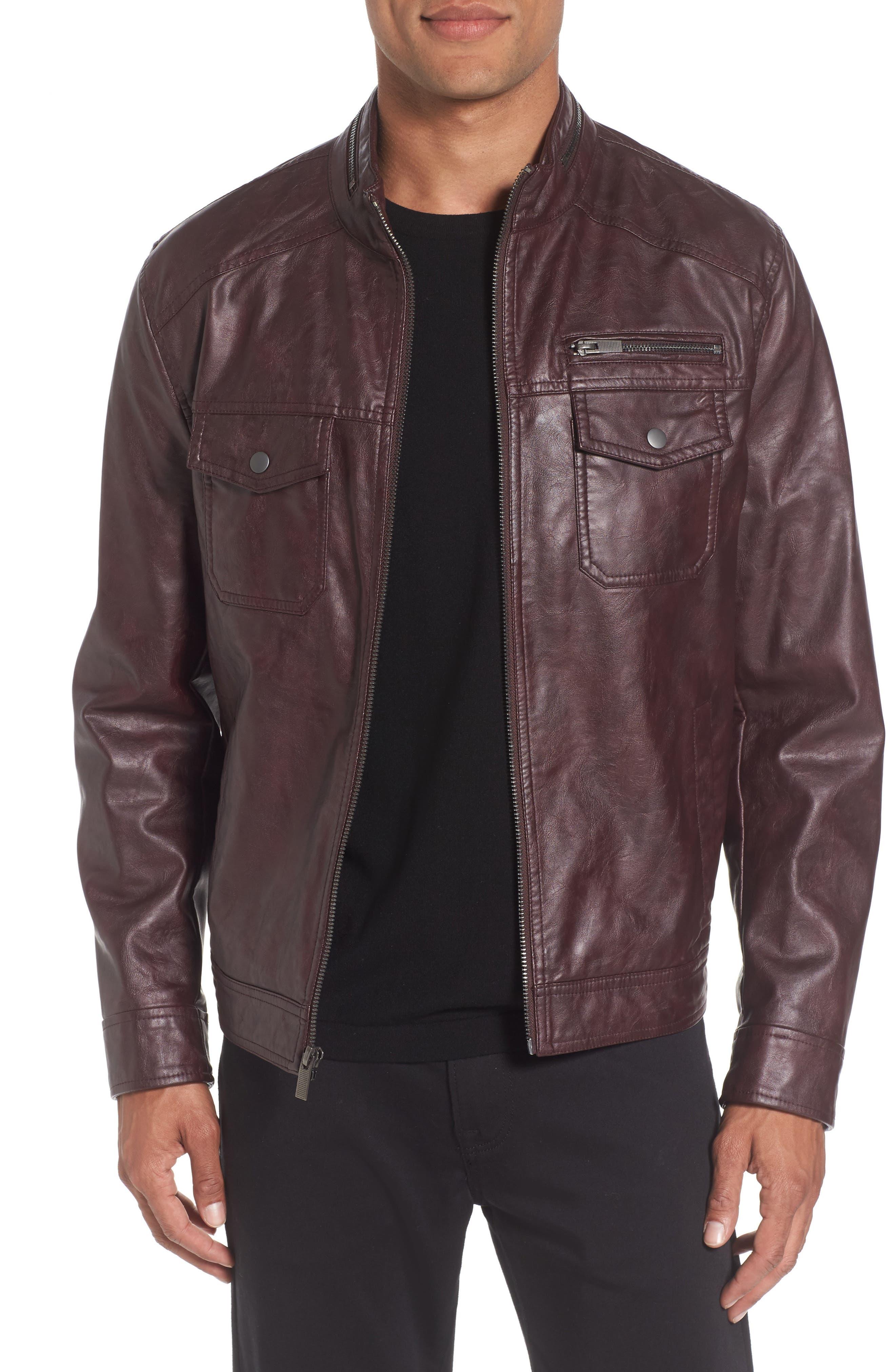 Faux Leather Jacket,                         Main,                         color, Burgundy