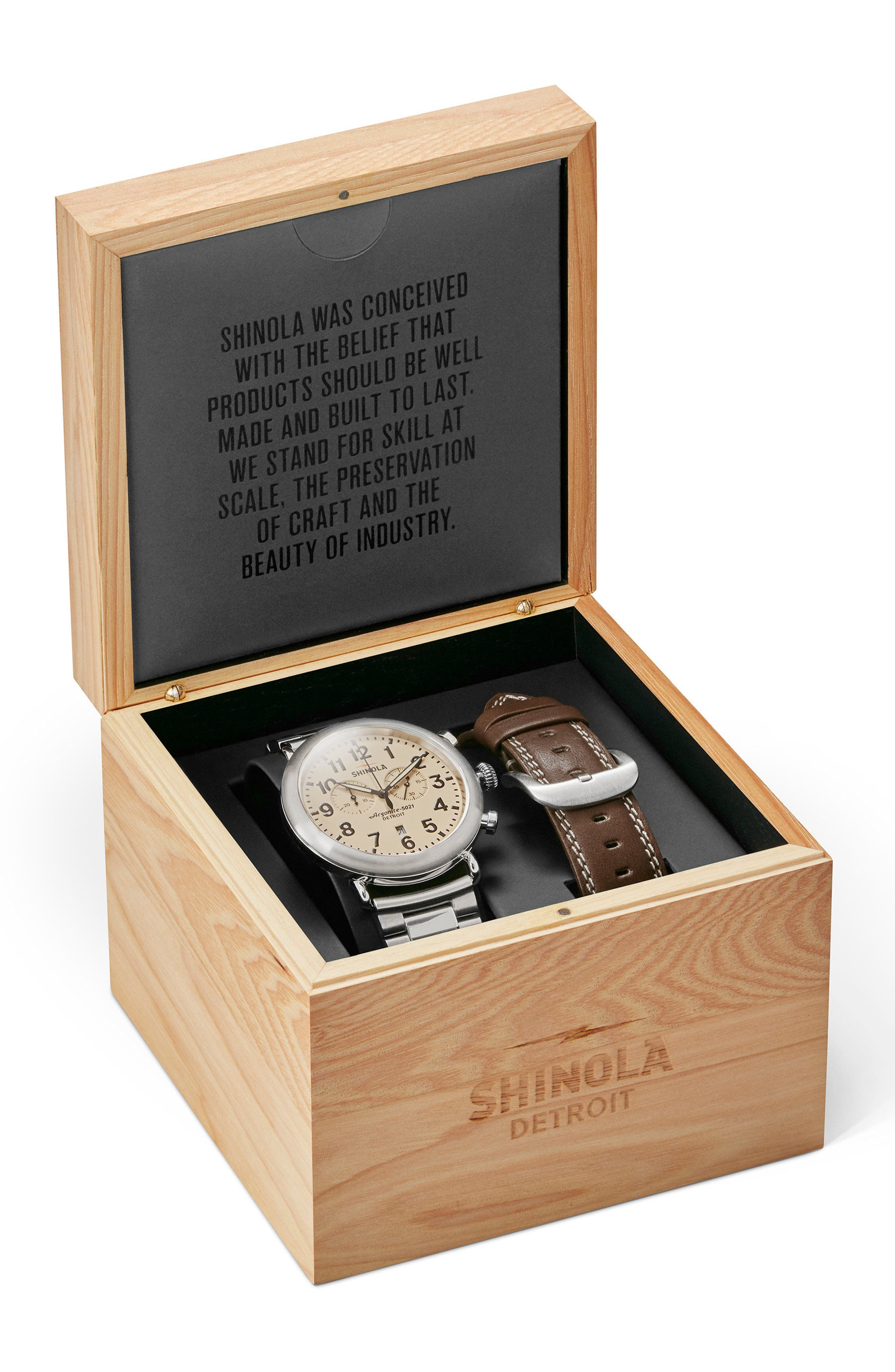 The Runwell Chronograph Watch Gift Set, 47mm,                         Main,                         color, Silver/ Cream/ Silver