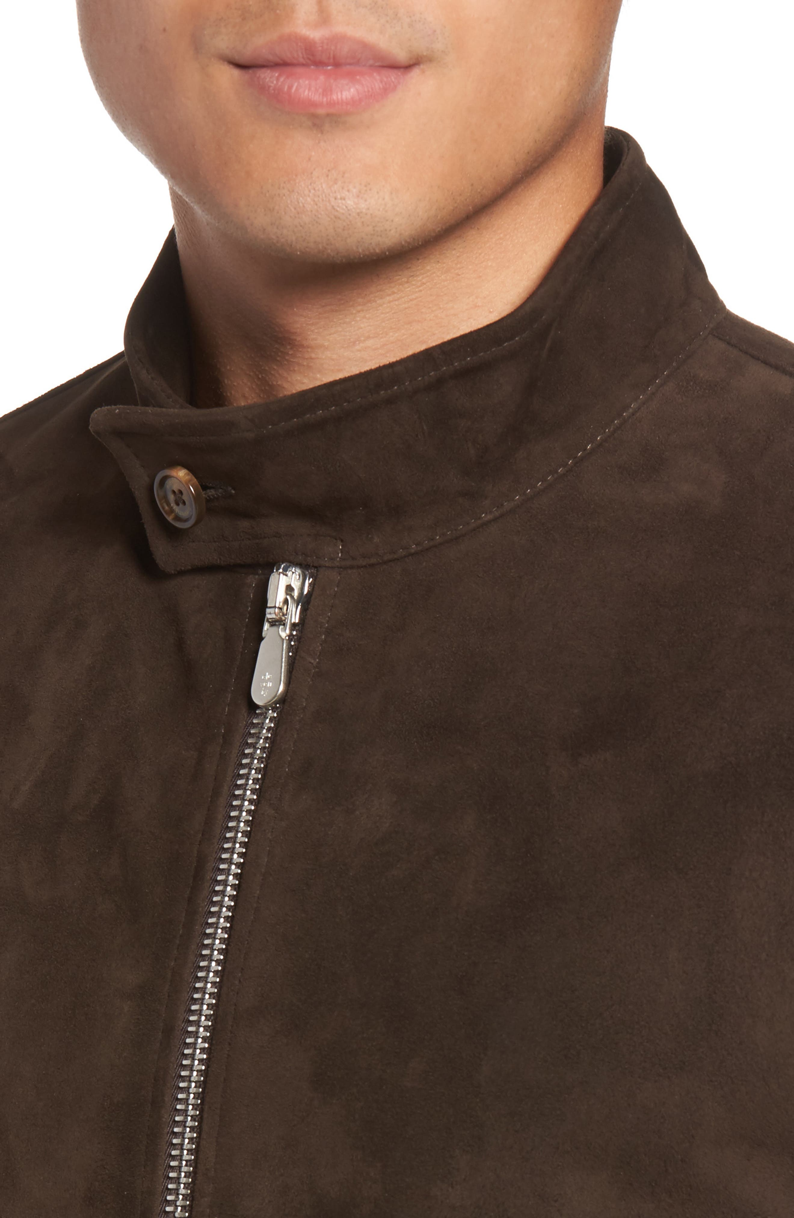 Suede Jacket,                             Alternate thumbnail 5, color,                             Chocolate Brown