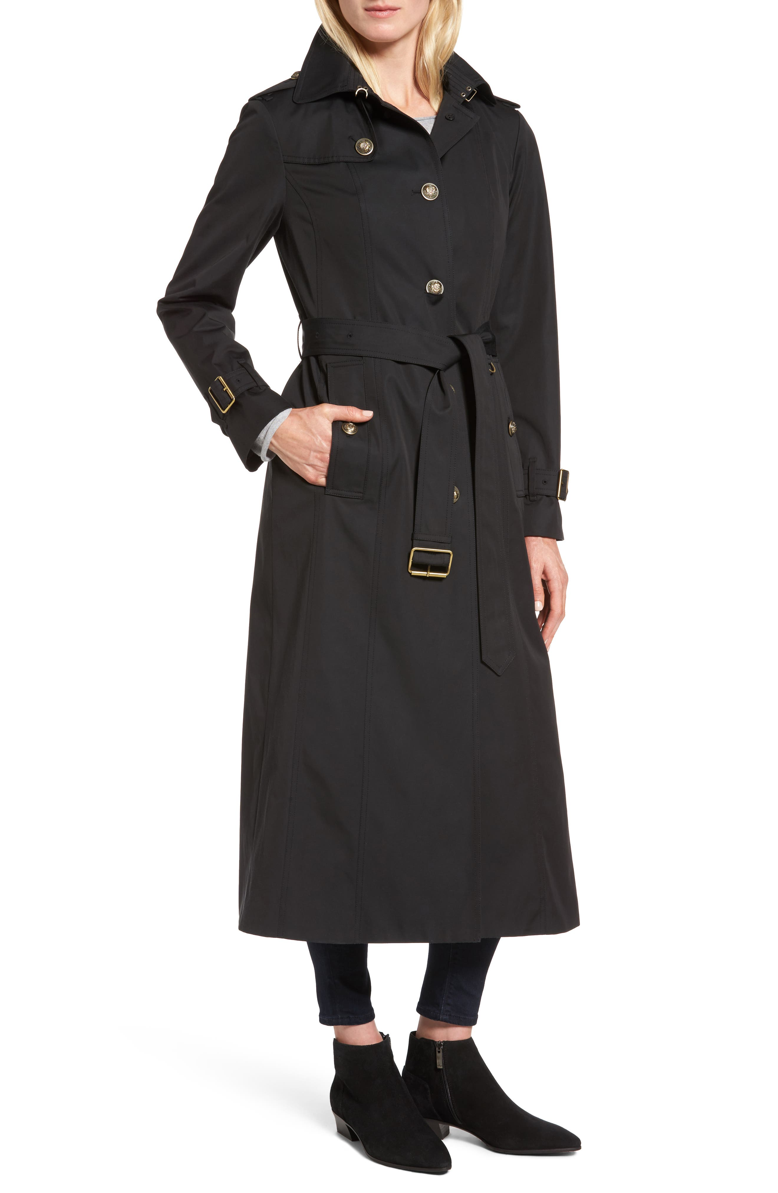 Hooded Single Breasted Long Trench Coat,                             Alternate thumbnail 4, color,                             Black