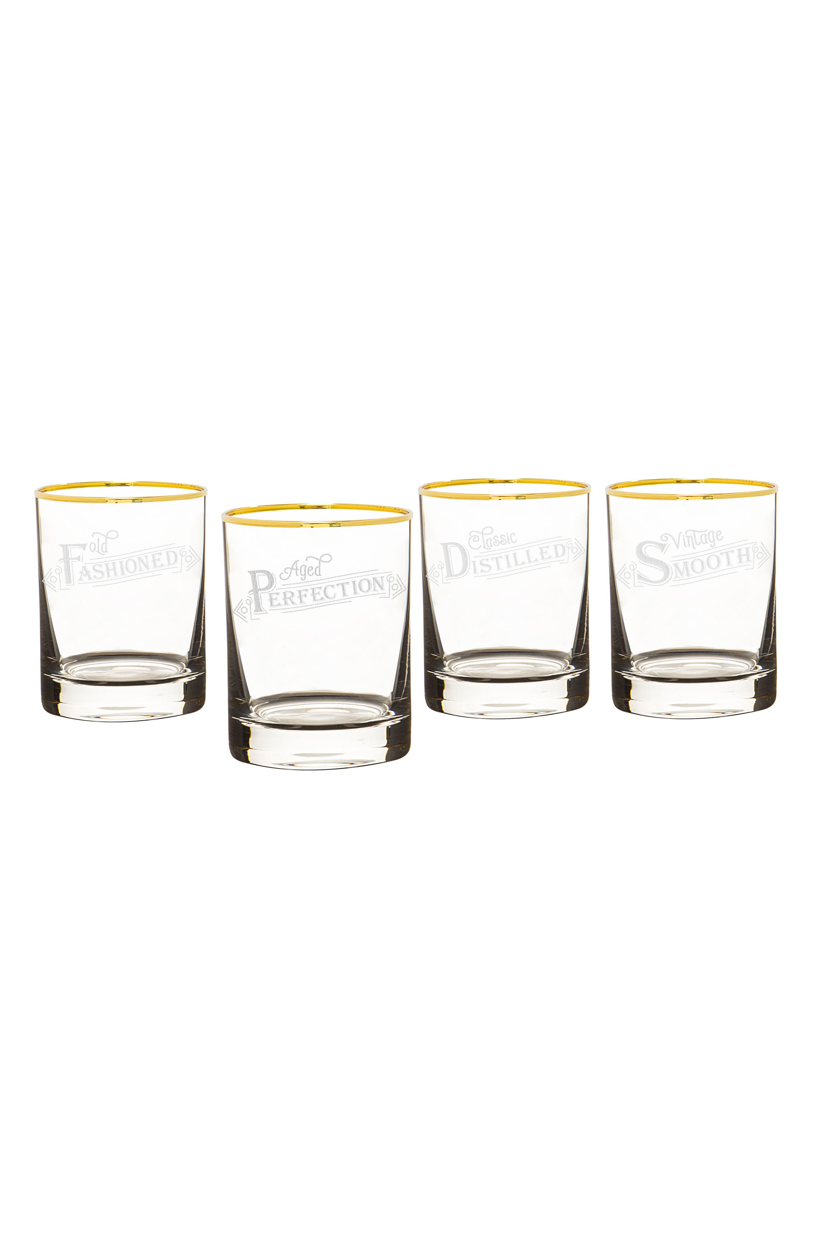 Set of 4 Gold Rim Old Fashioned Whiskey Glasses,                         Main,                         color, Gold