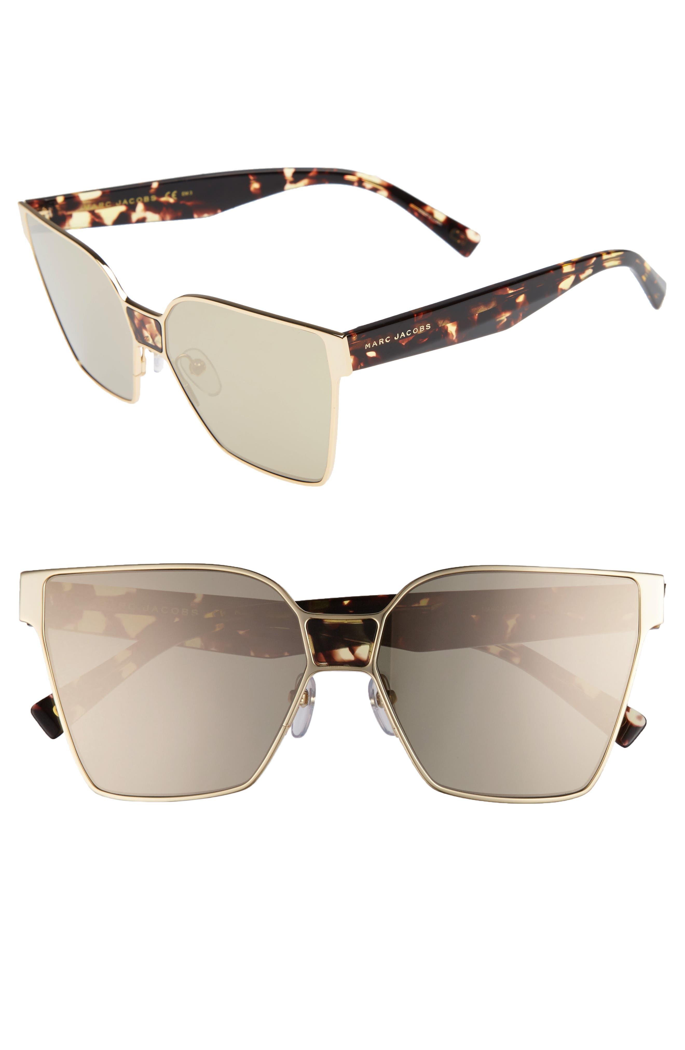 60mm Square Sunglasses,                             Main thumbnail 1, color,                             Gold