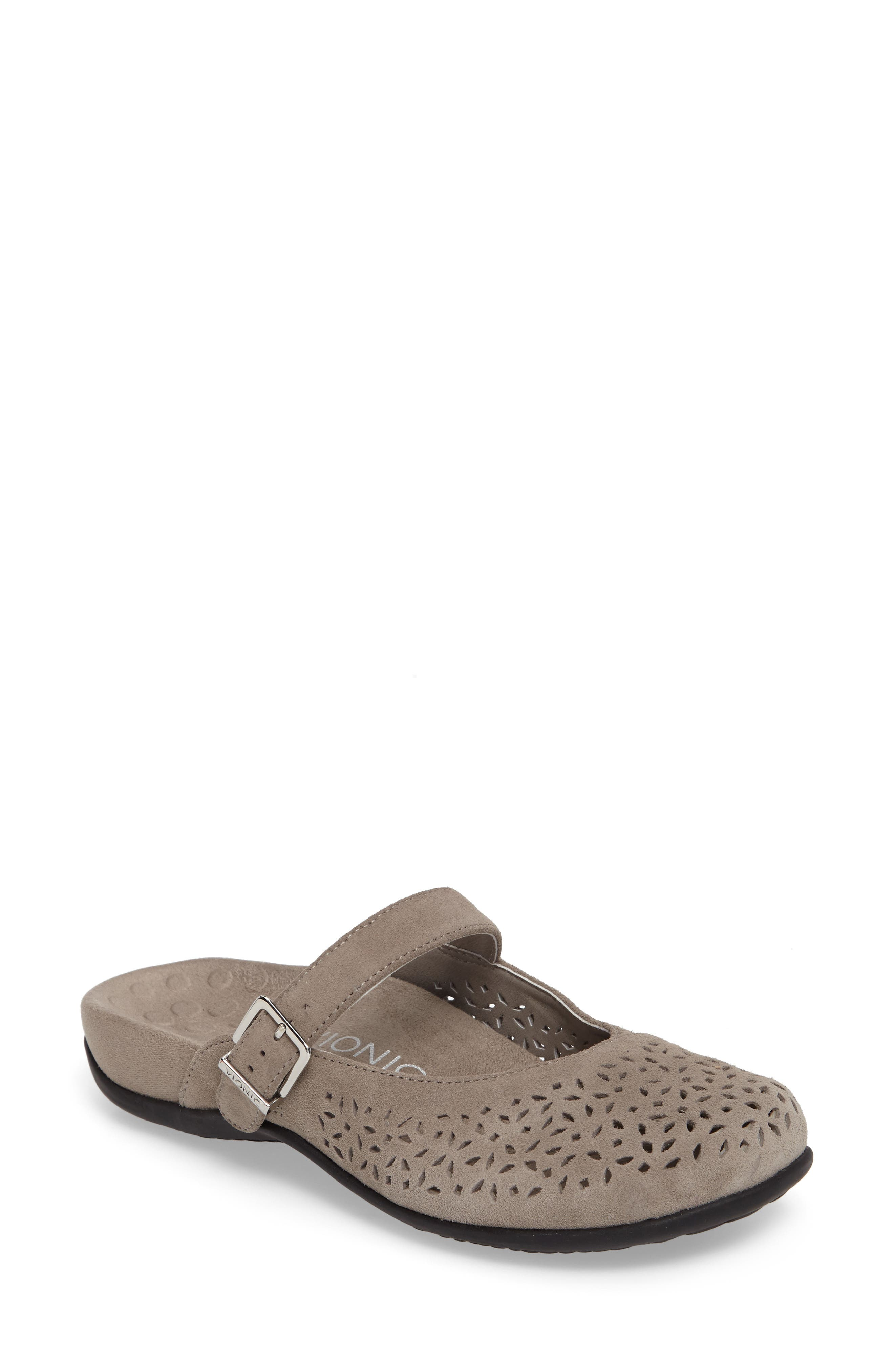 Rest Lidia Perforated Mary Jane Mule,                         Main,                         color, Grey Suede