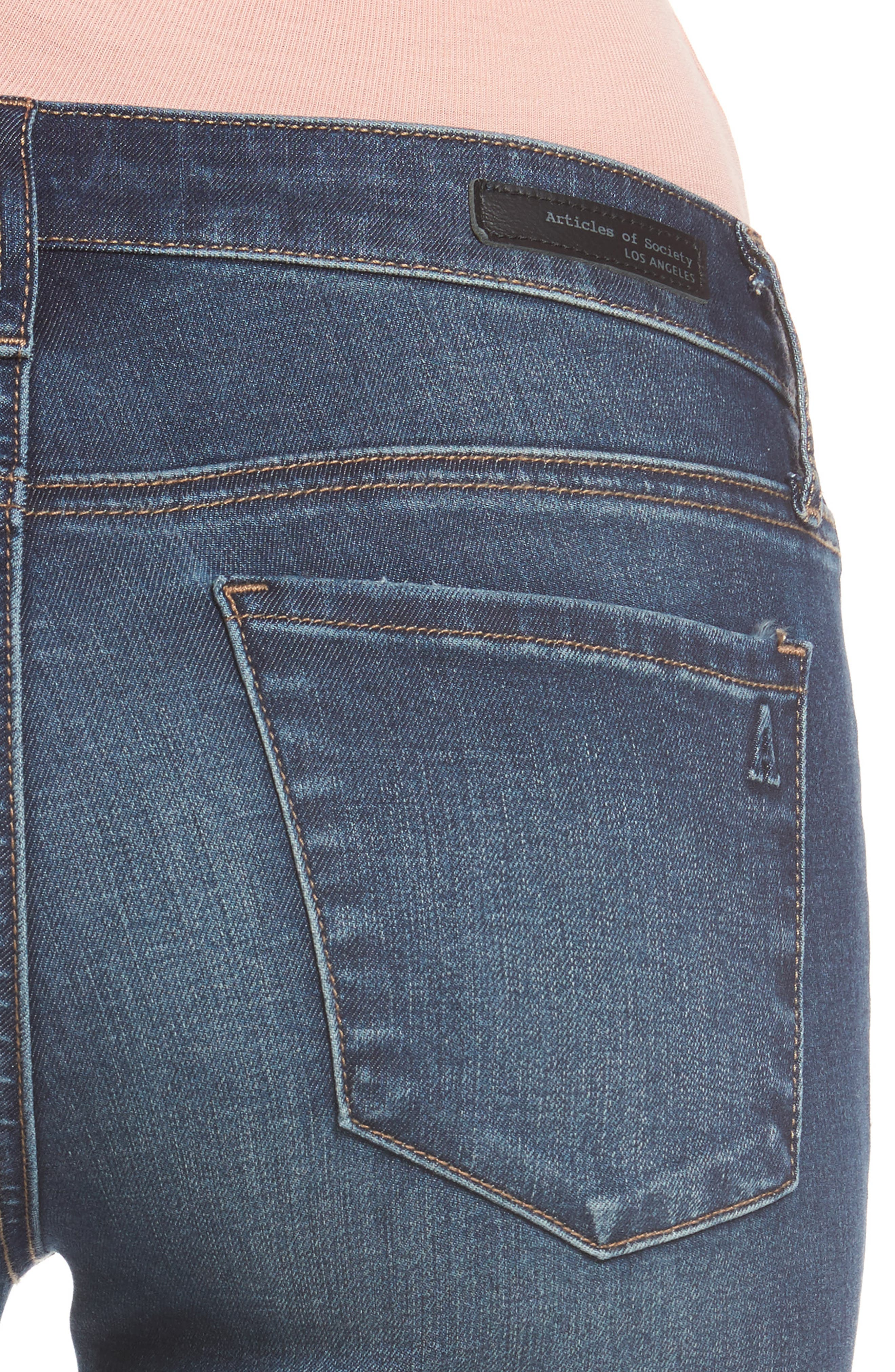 Alternate Image 4  - Articles of Society Melody Skinny Jeans (Blue Ridge)
