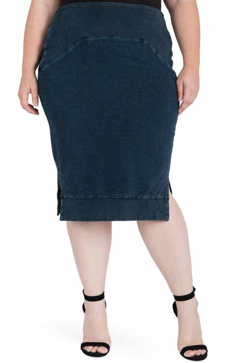 Standards & Practices Kelly Side Slit Knit Pencil Skirt (Plus Size)