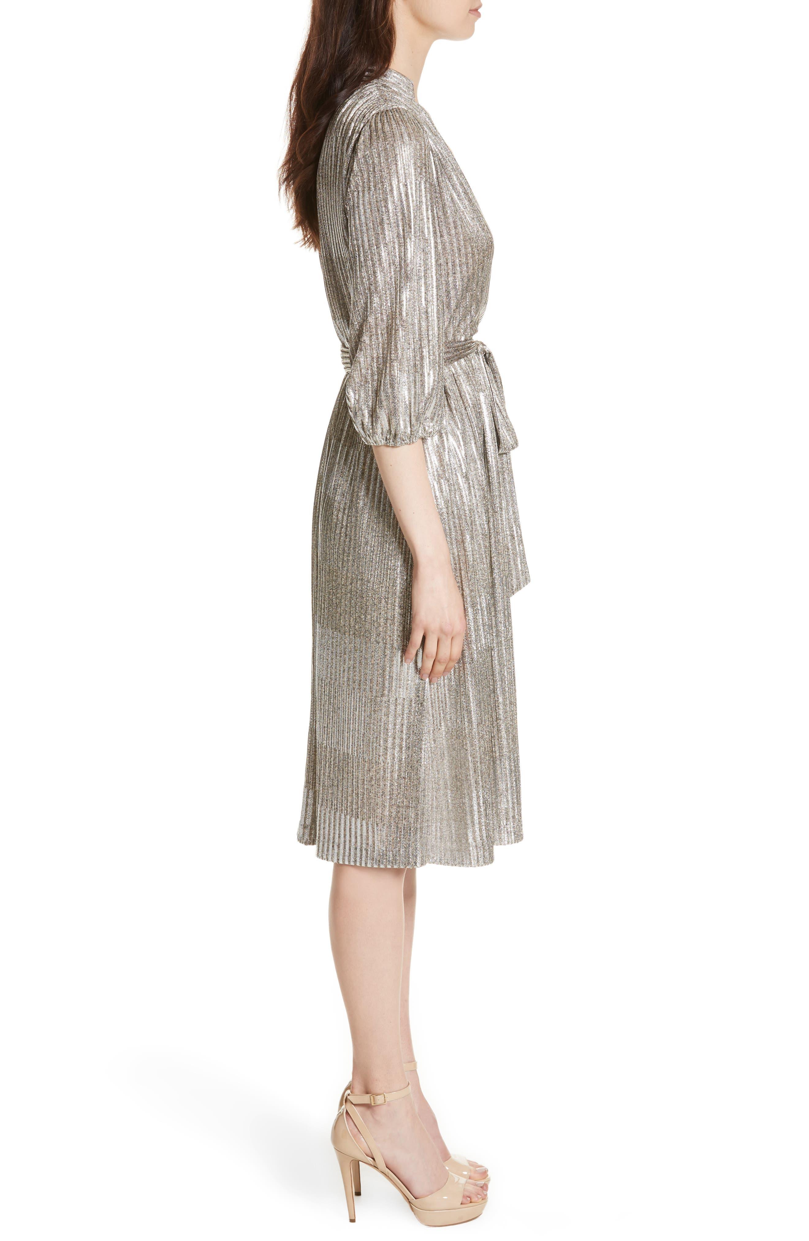 Katina Metallic Wrap Dress,                             Alternate thumbnail 3, color,                             Gold