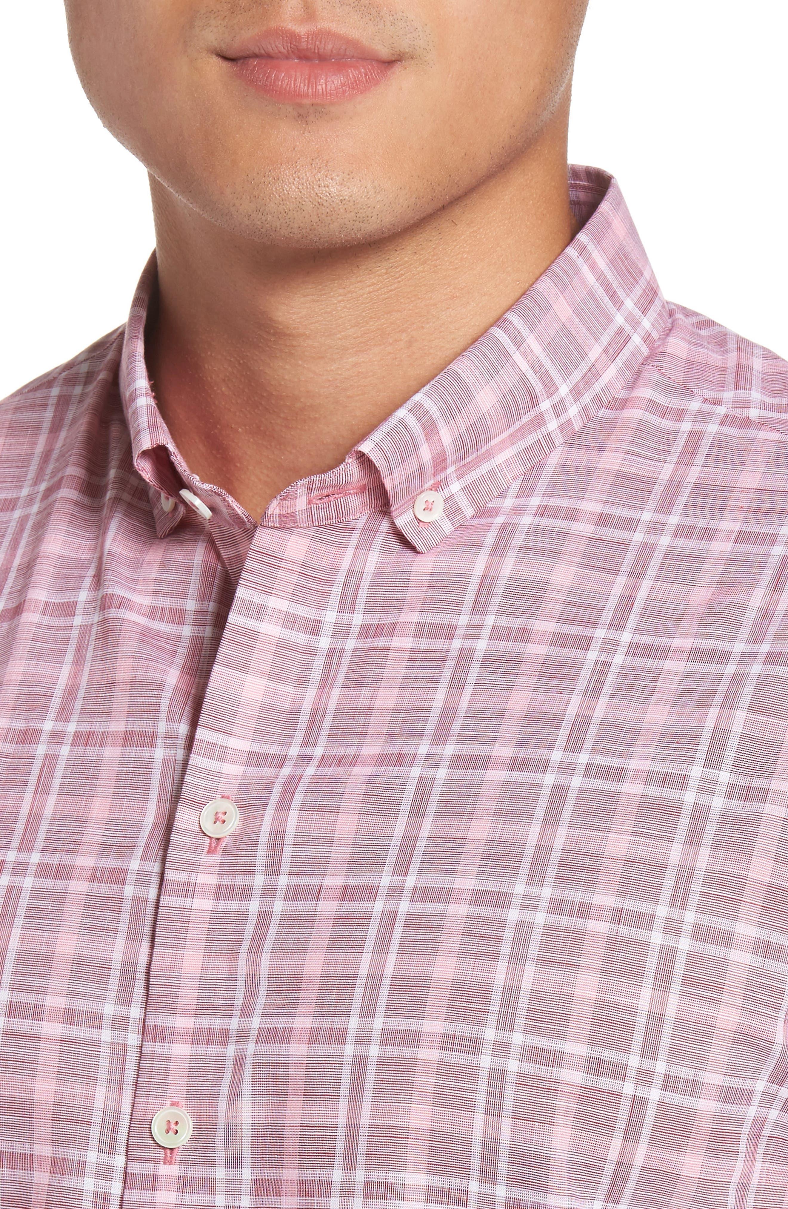 Holland Plaid Short Sleeve Sport Shirt,                             Alternate thumbnail 4, color,                             Red