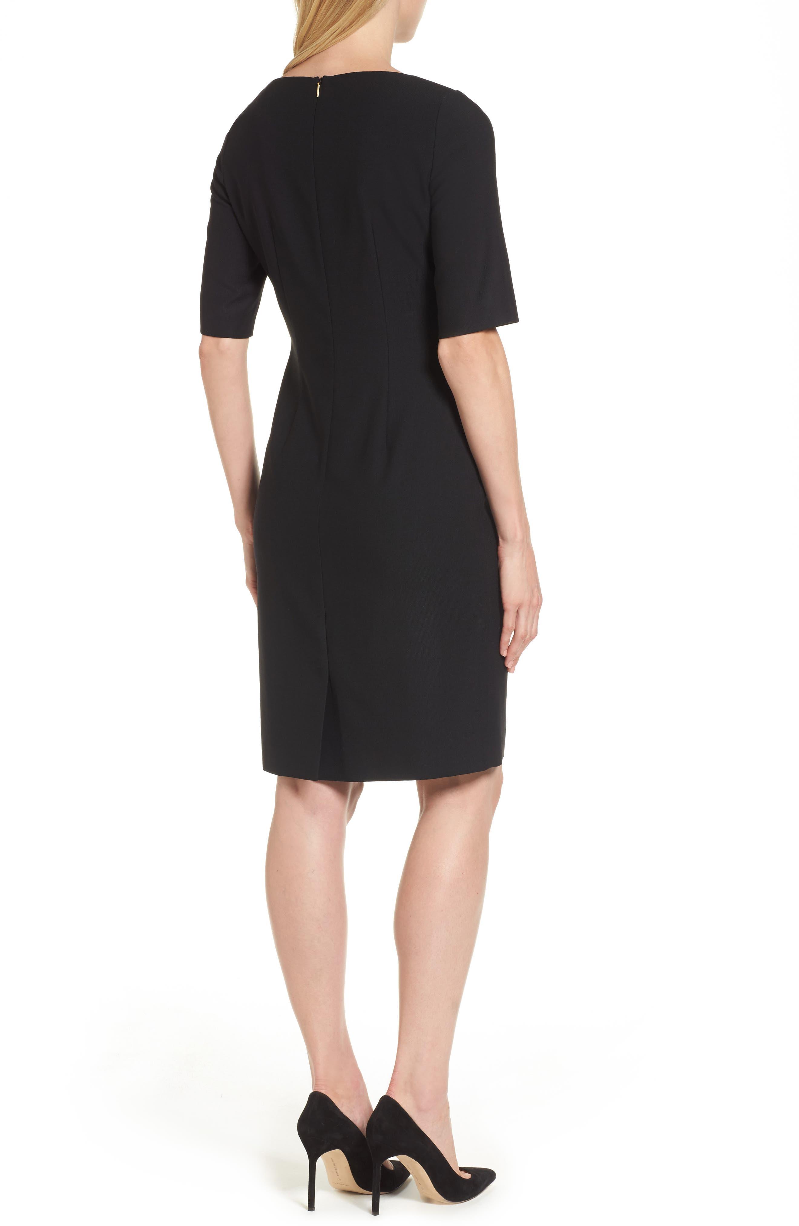 Delera Stretch Wool Sheath Dress,                             Alternate thumbnail 2, color,                             Black