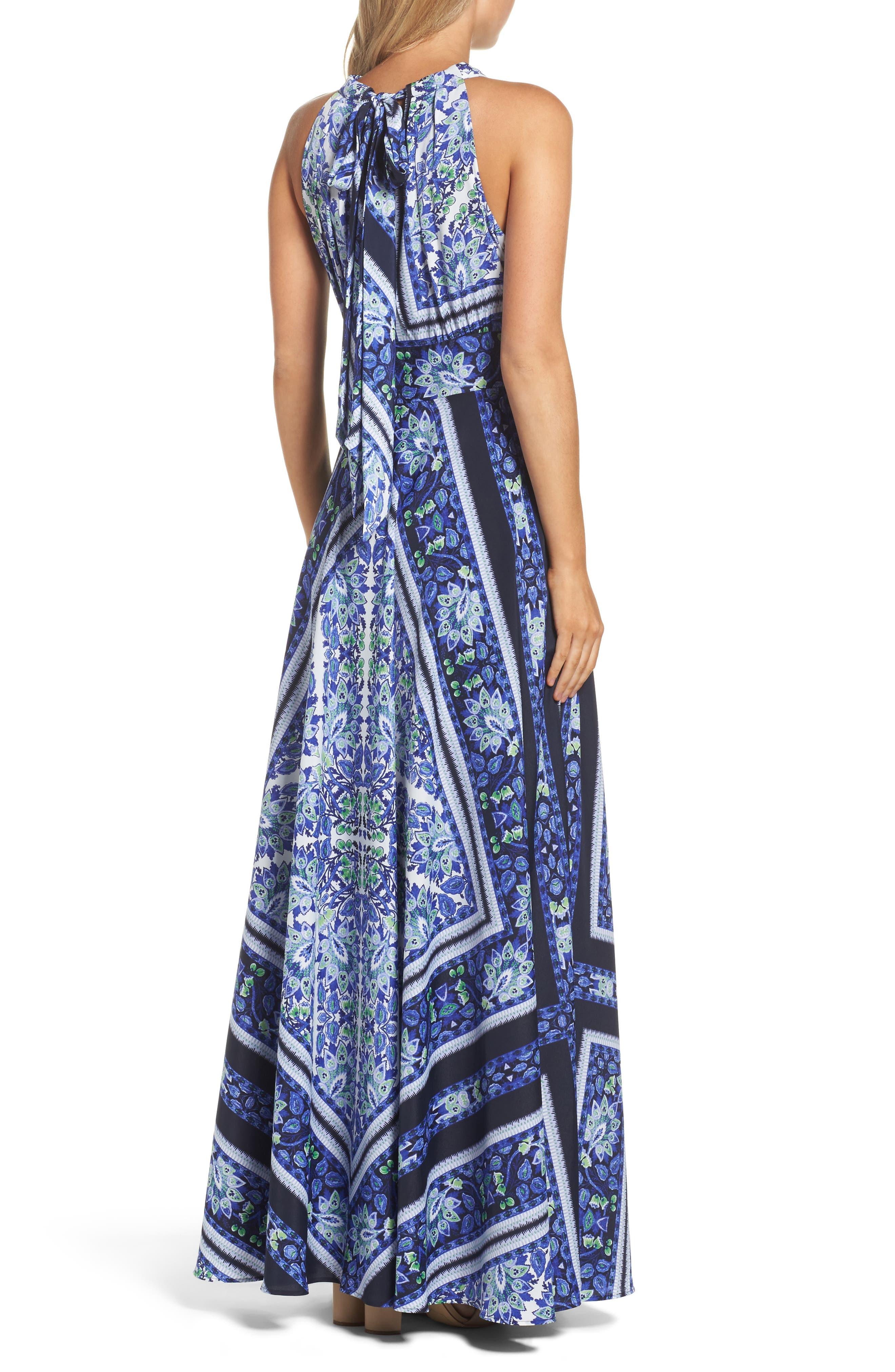 Scarf Print Maxi Dress,                             Alternate thumbnail 2, color,                             Navy/ Purple