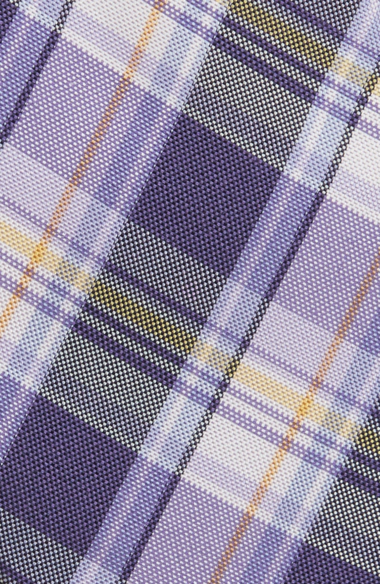 Plaid Silk & Cotton Tie,                             Alternate thumbnail 2, color,                             Lilac