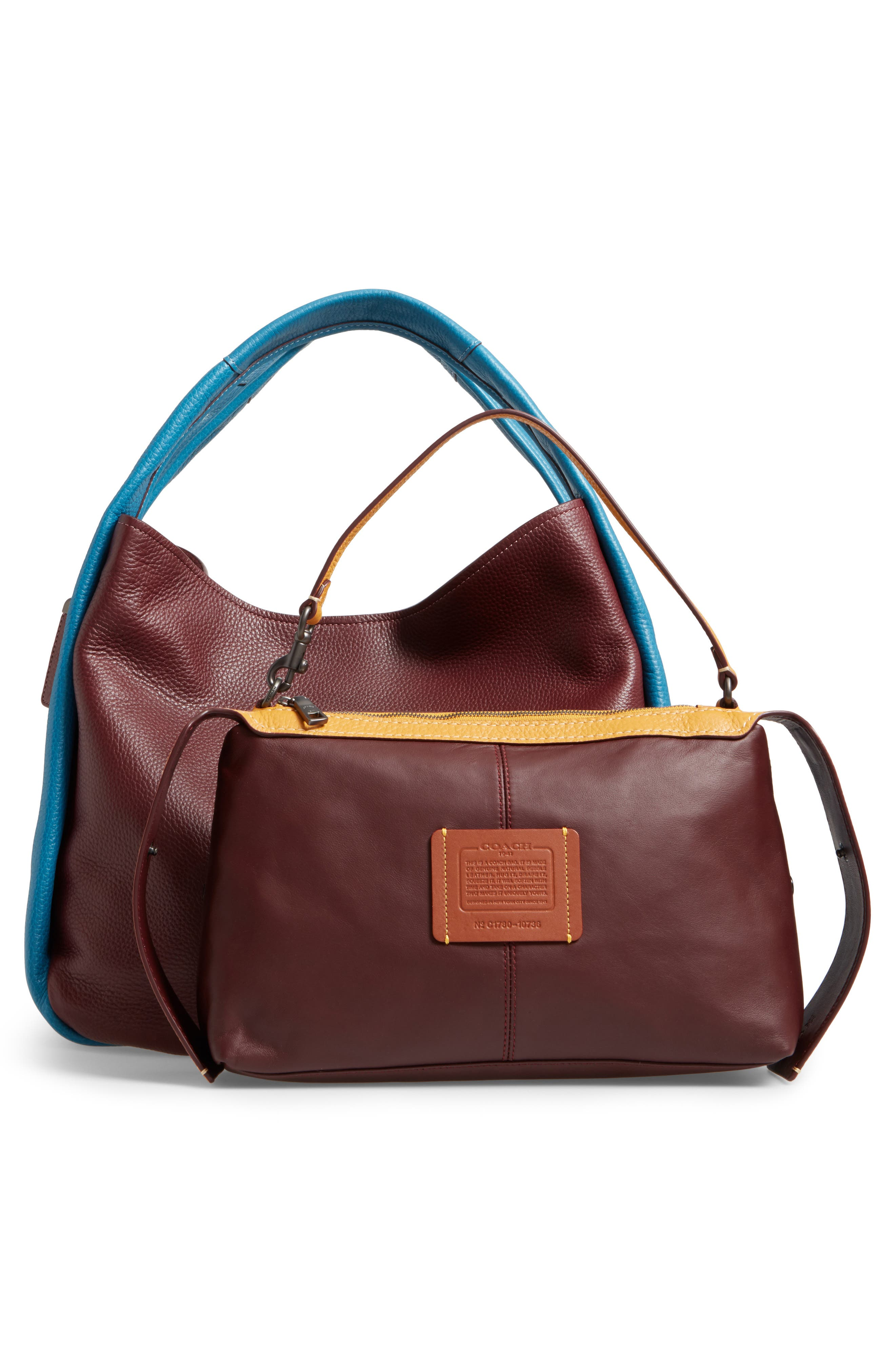 Colorblock Bandit Leather Hobo Bag,                             Alternate thumbnail 2, color,                             Goldenrod Multi