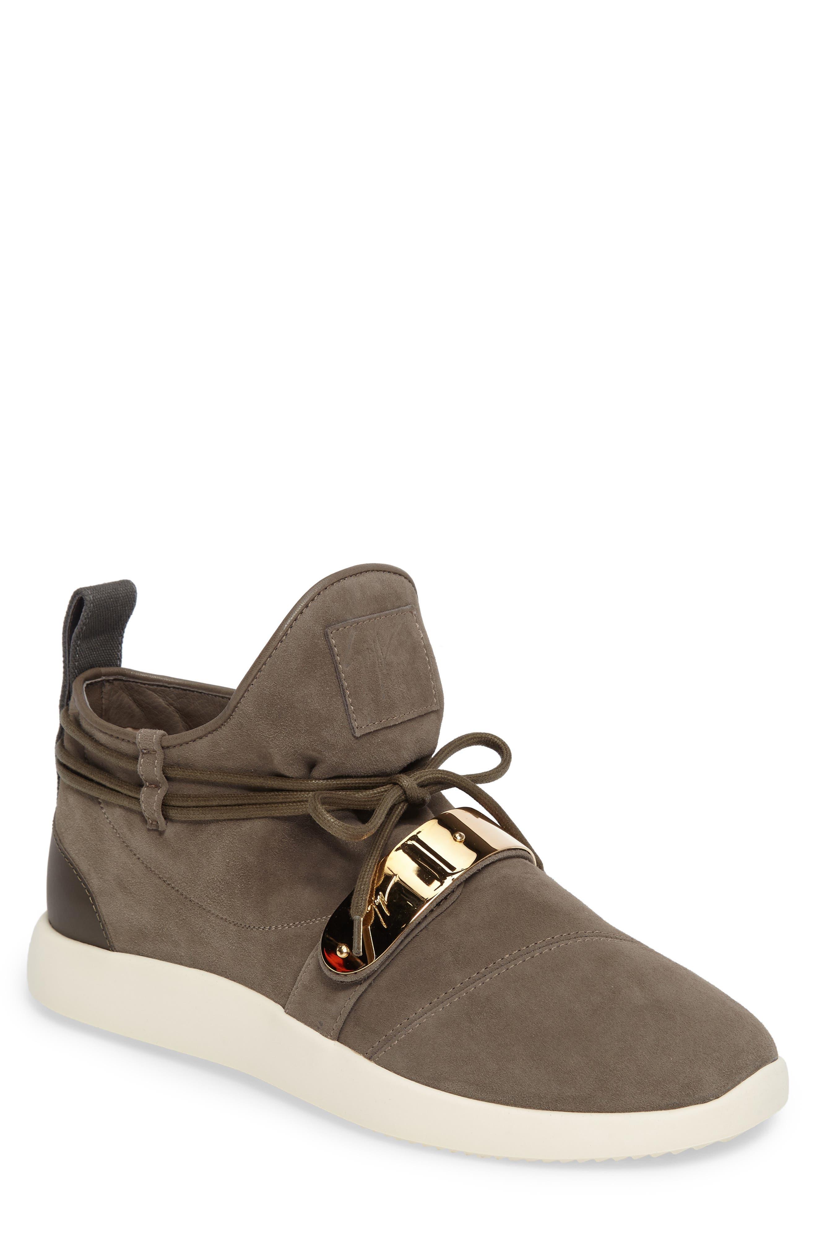 Giuseppe Zanotti Gold Bar Mid-Top Sneaker (Men)