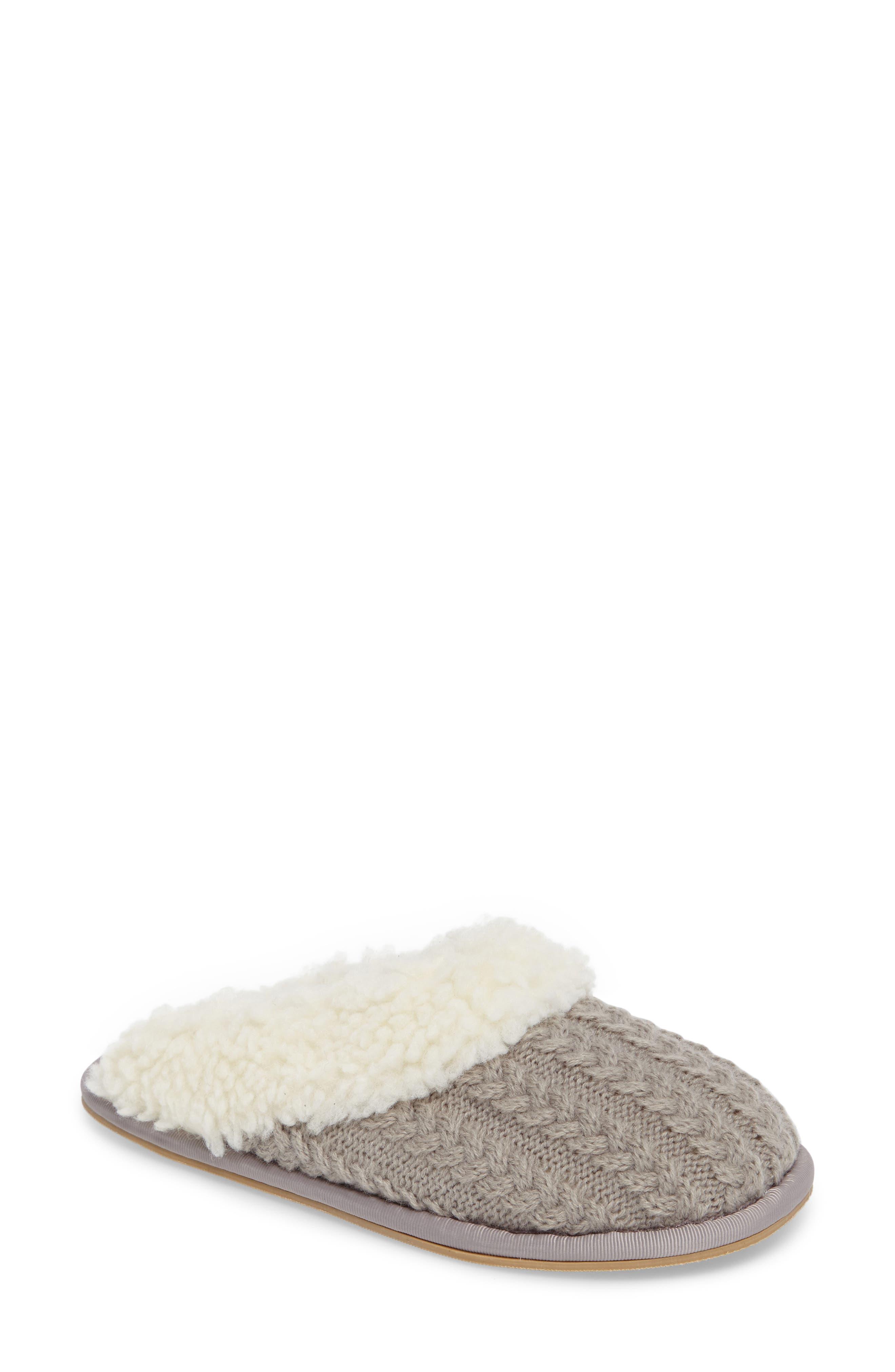 Celia Cable Knit Slipper,                             Main thumbnail 1, color,                             Grey Fabric