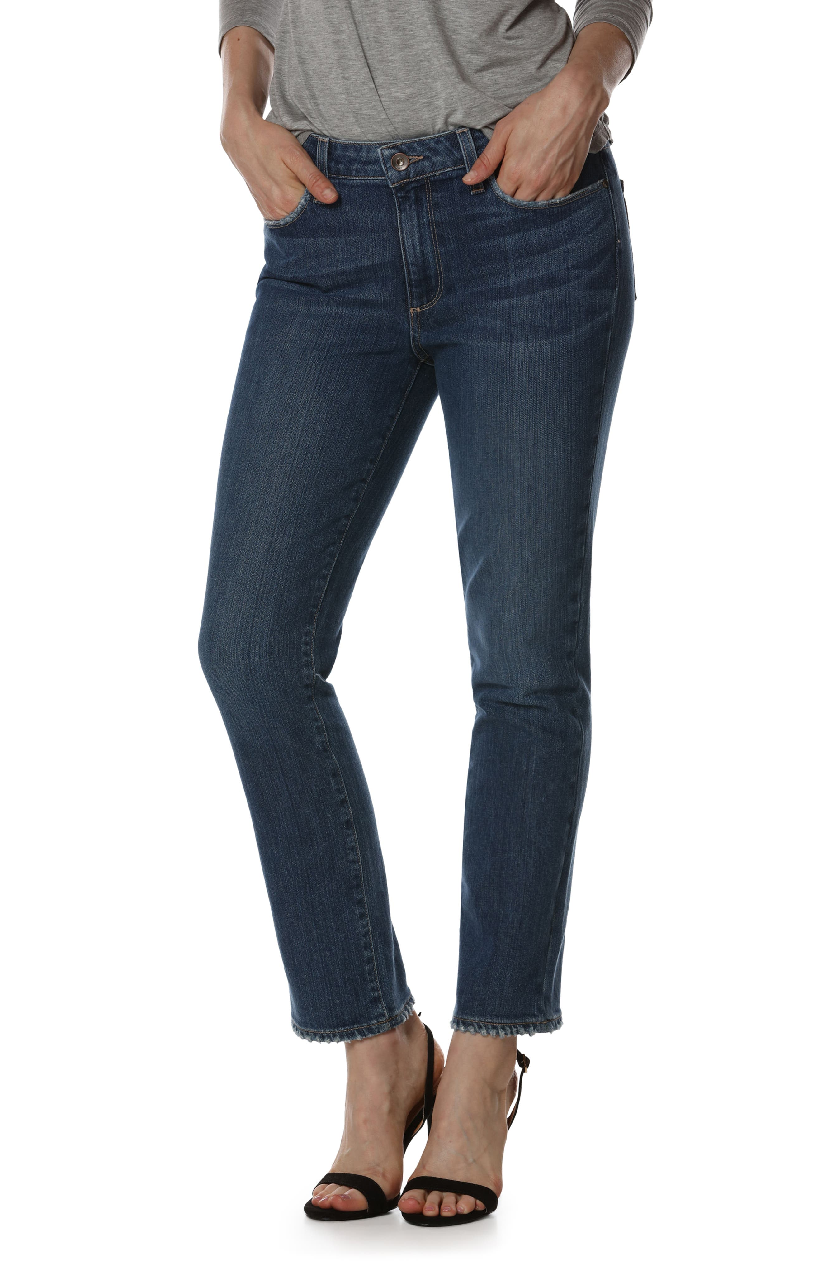 Jacqueline High Waist Ankle Straight Leg Jeans,                         Main,                         color, Good Life Embroidery