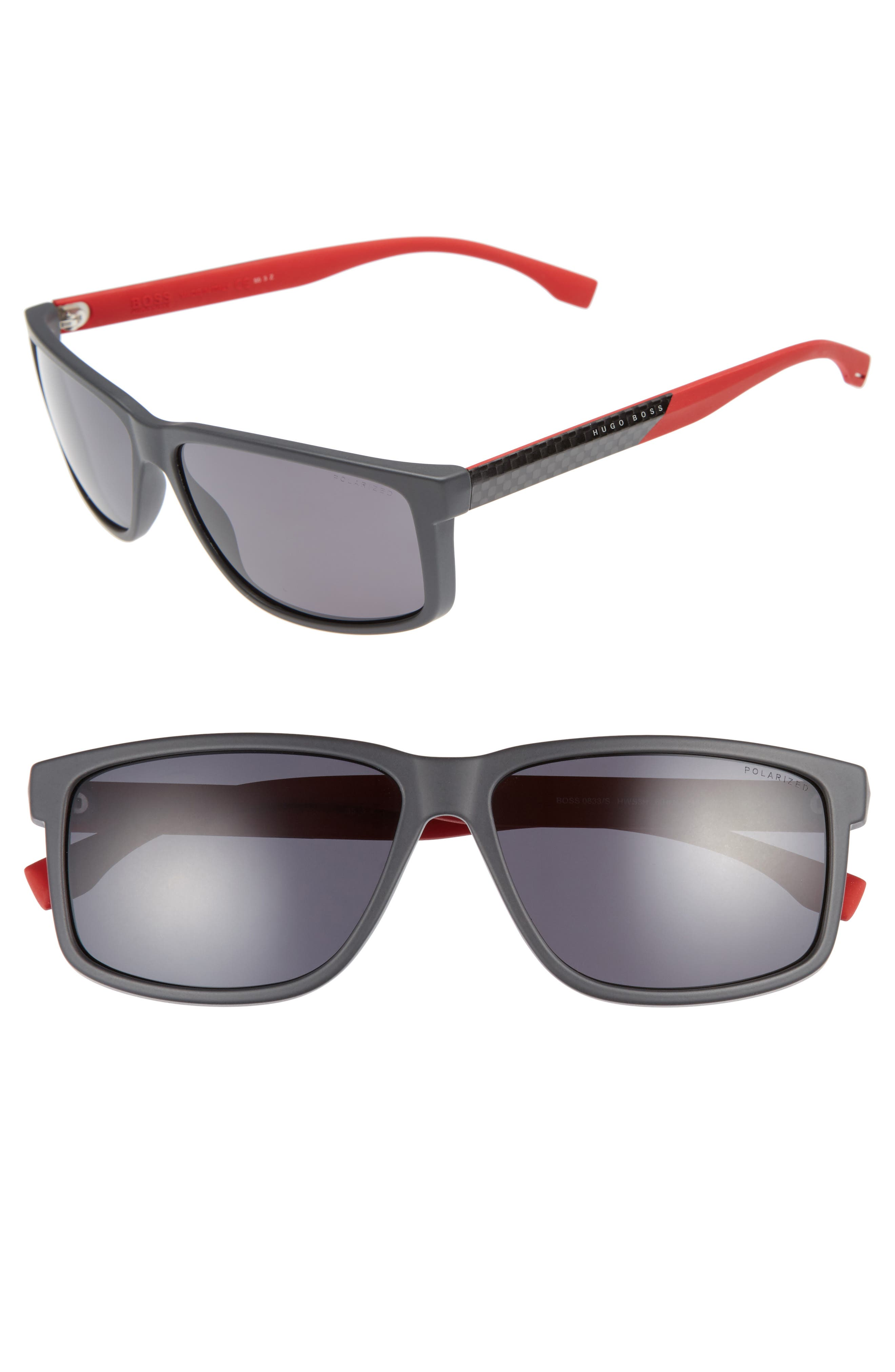 60mm Polarized Sunglasses,                             Main thumbnail 1, color,                             Grey Carbon Red