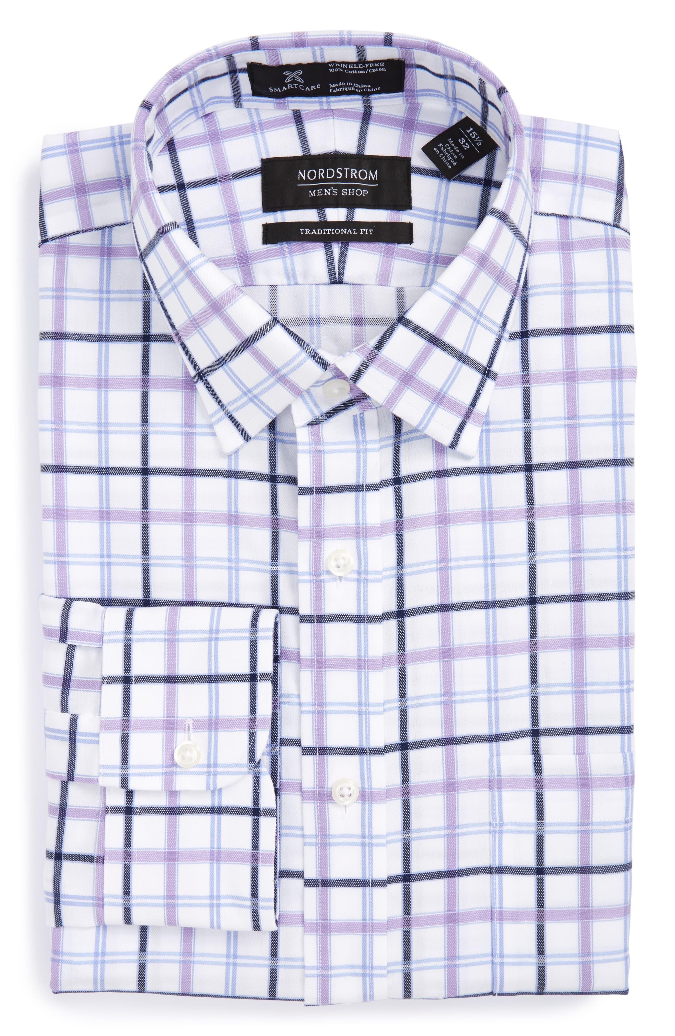 Smartcare<sup>™</sup> Traditional Fit Check Dress Shirt,                         Main,                         color, Purple Bonnet
