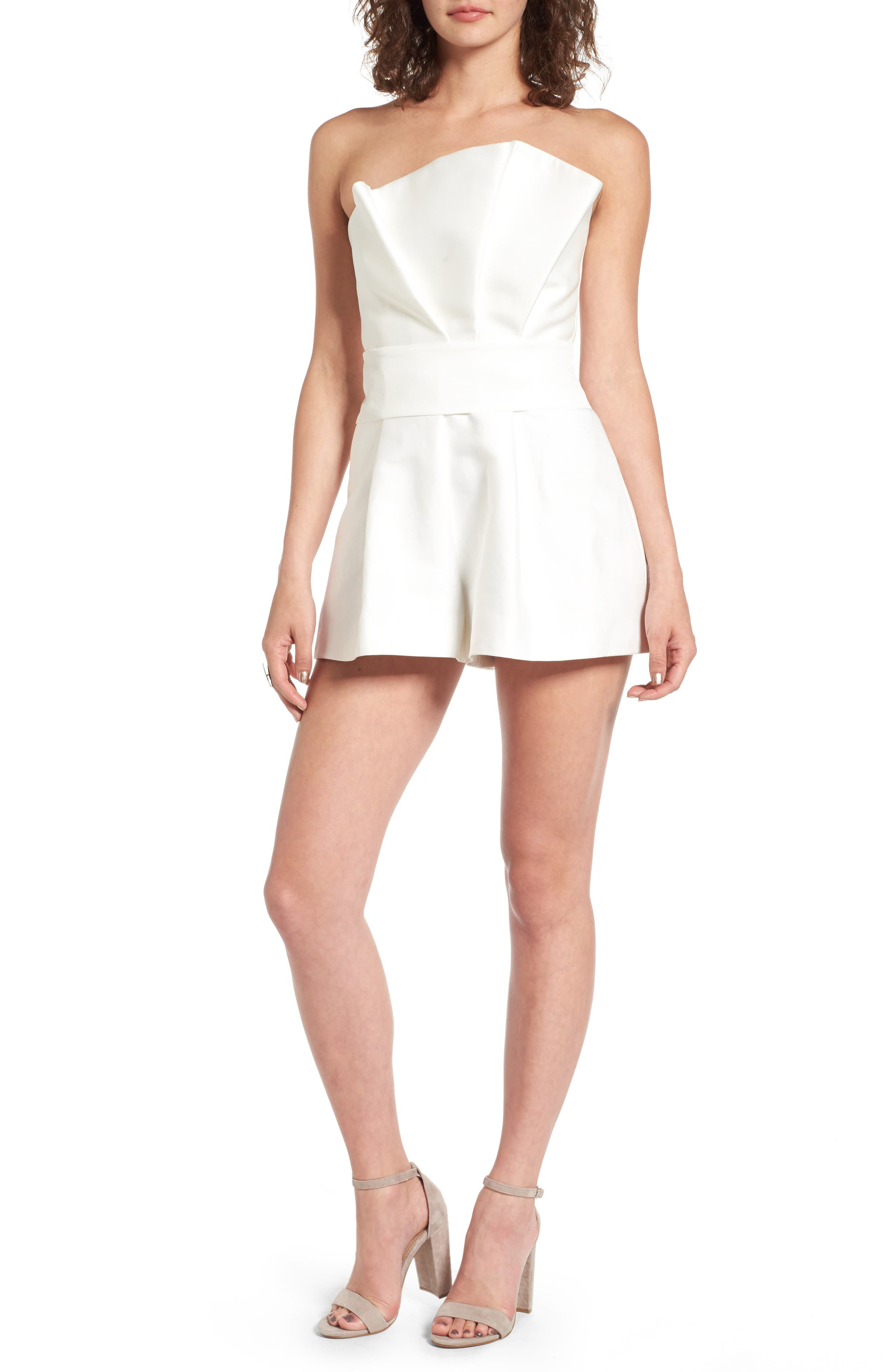 Retrograde Strapless Romper,                             Main thumbnail 1, color,                             Ivory