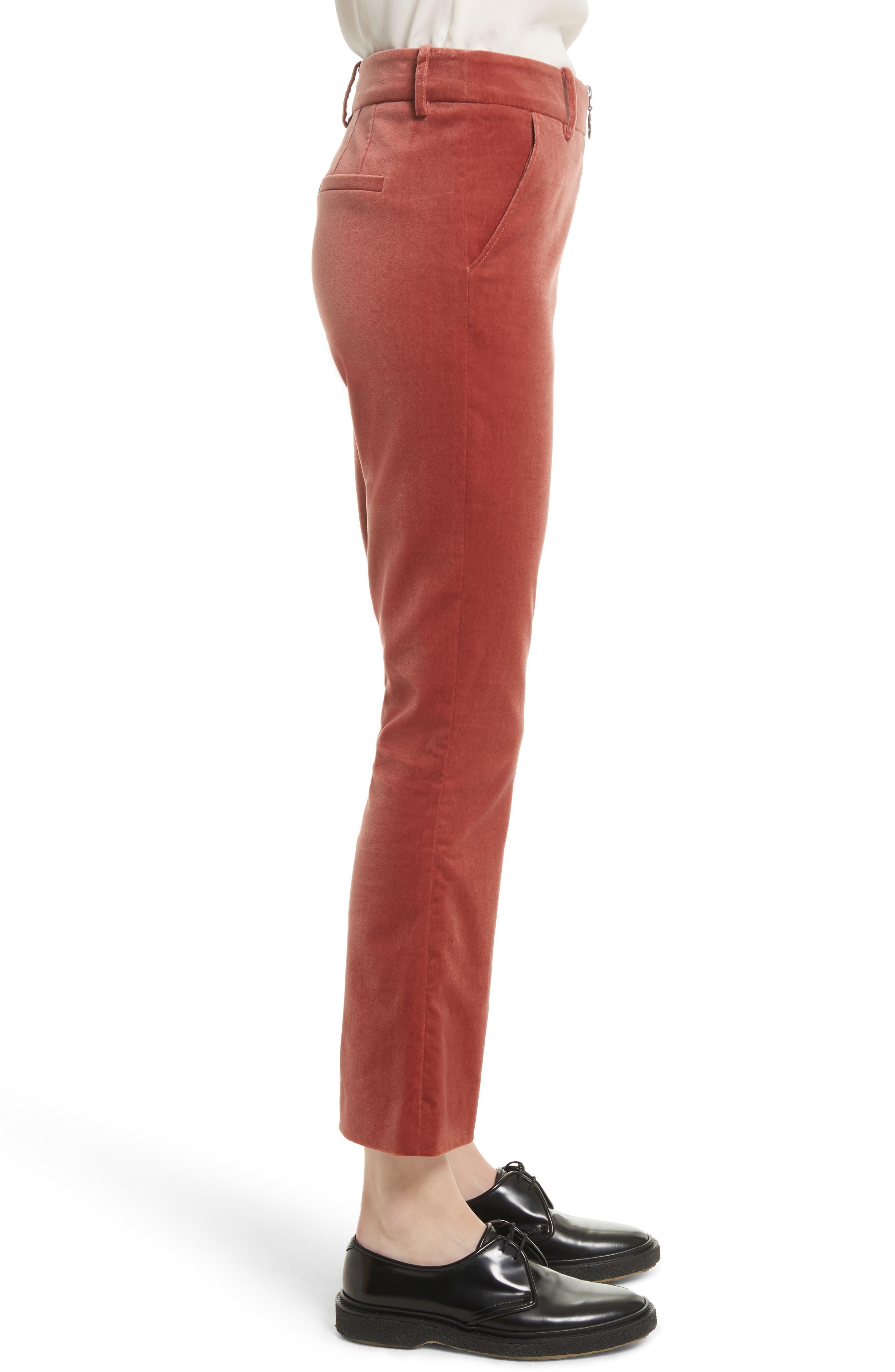 O-Ring Velvet Crop Flare Pants,                             Alternate thumbnail 4, color,                             Spice