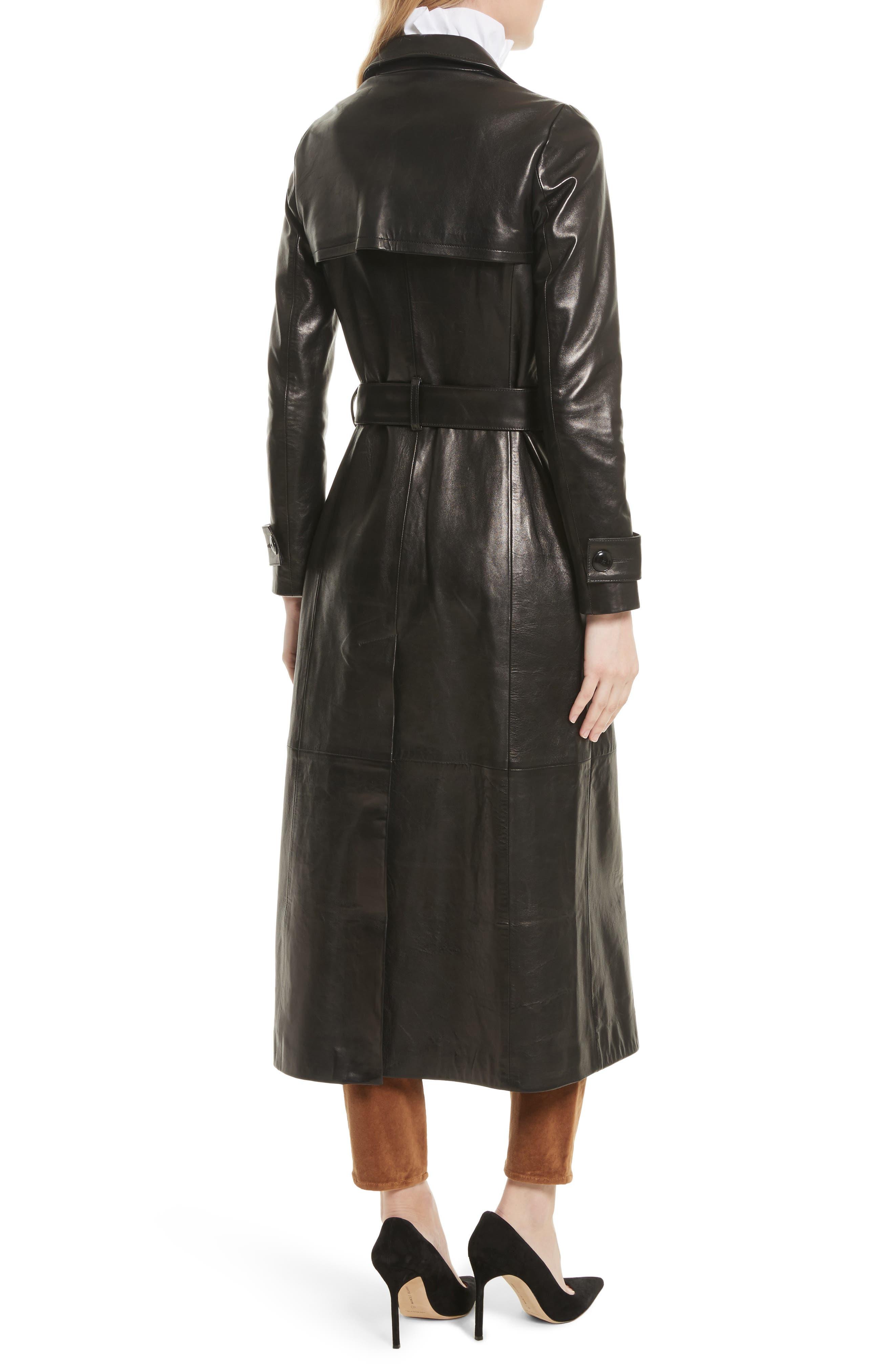 Leather Trench Coat,                             Alternate thumbnail 4, color,                             Noir