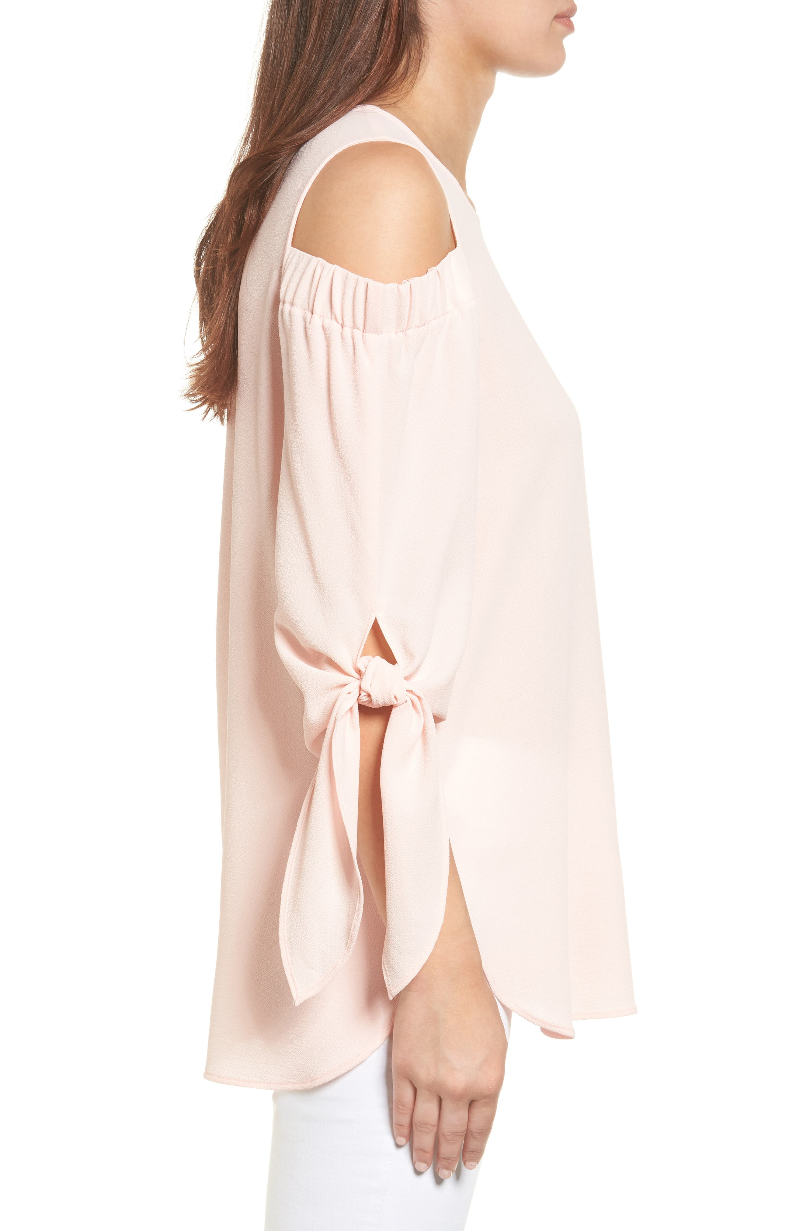 Cold Shoulder Top,                             Alternate thumbnail 3, color,                             Blush