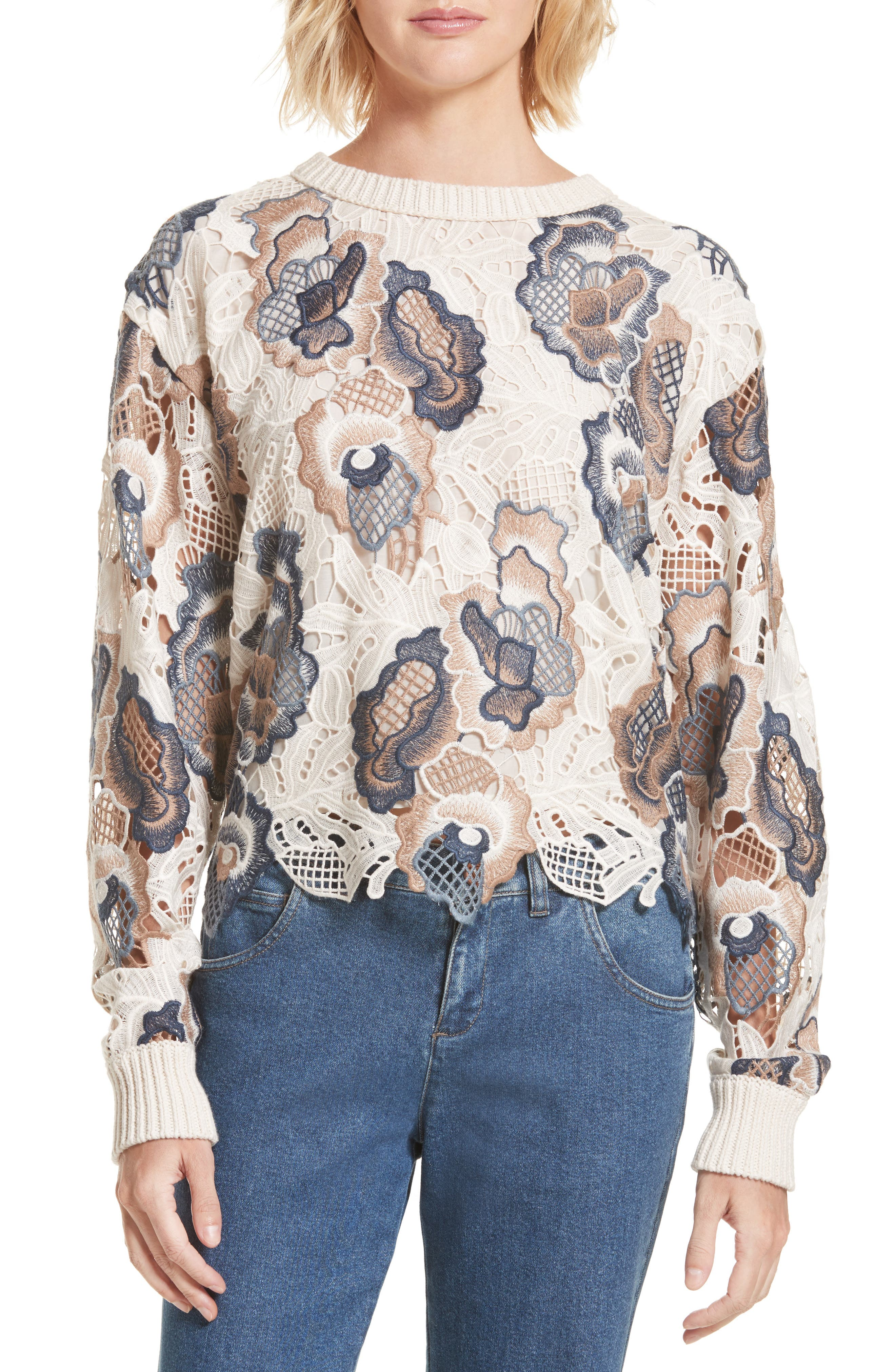 Floral Lace Sweater,                             Main thumbnail 1, color,                             White And Blue