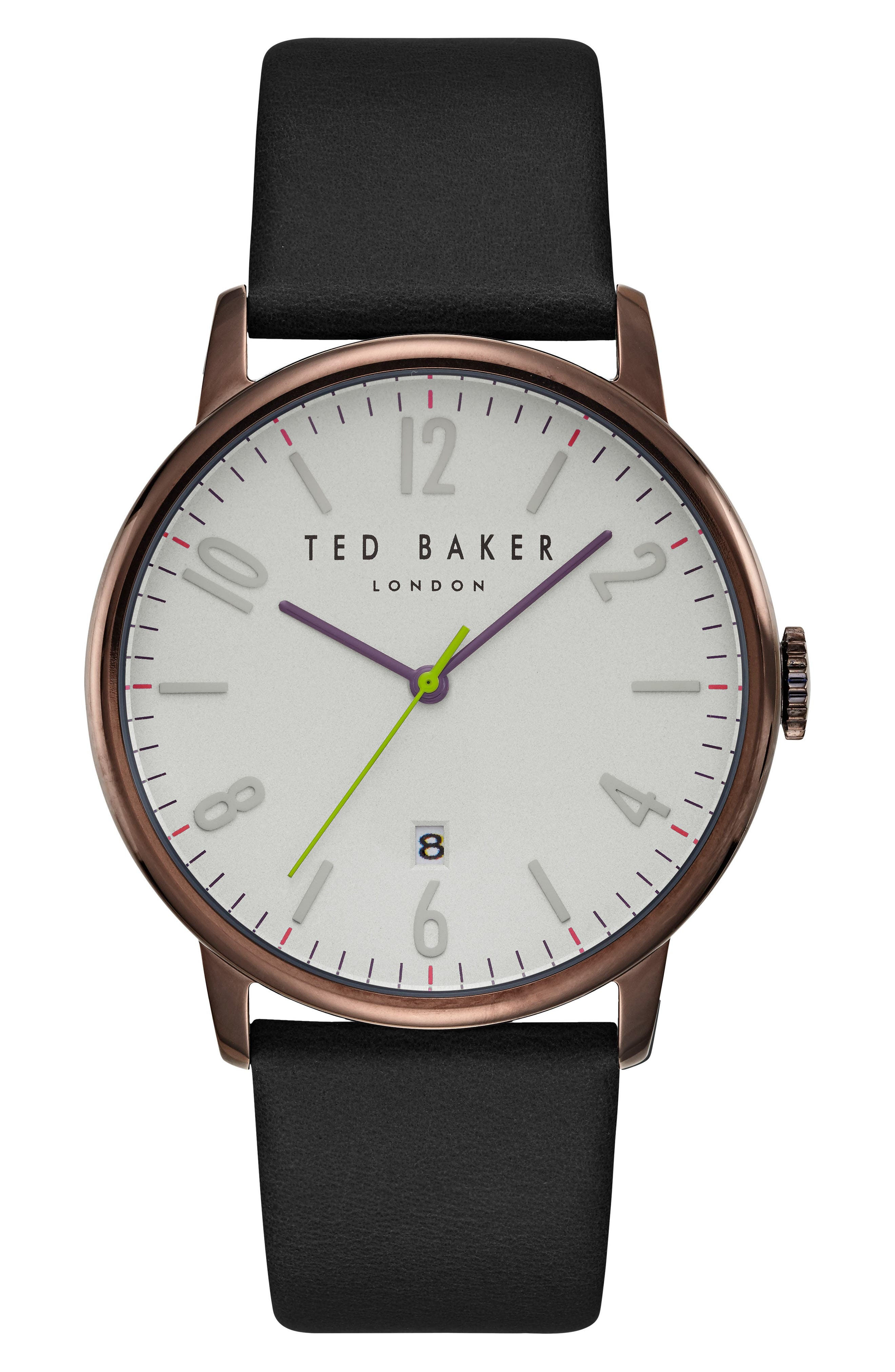 Main Image - Ted Baker London Thomas Leather Strap Watch, 41mm