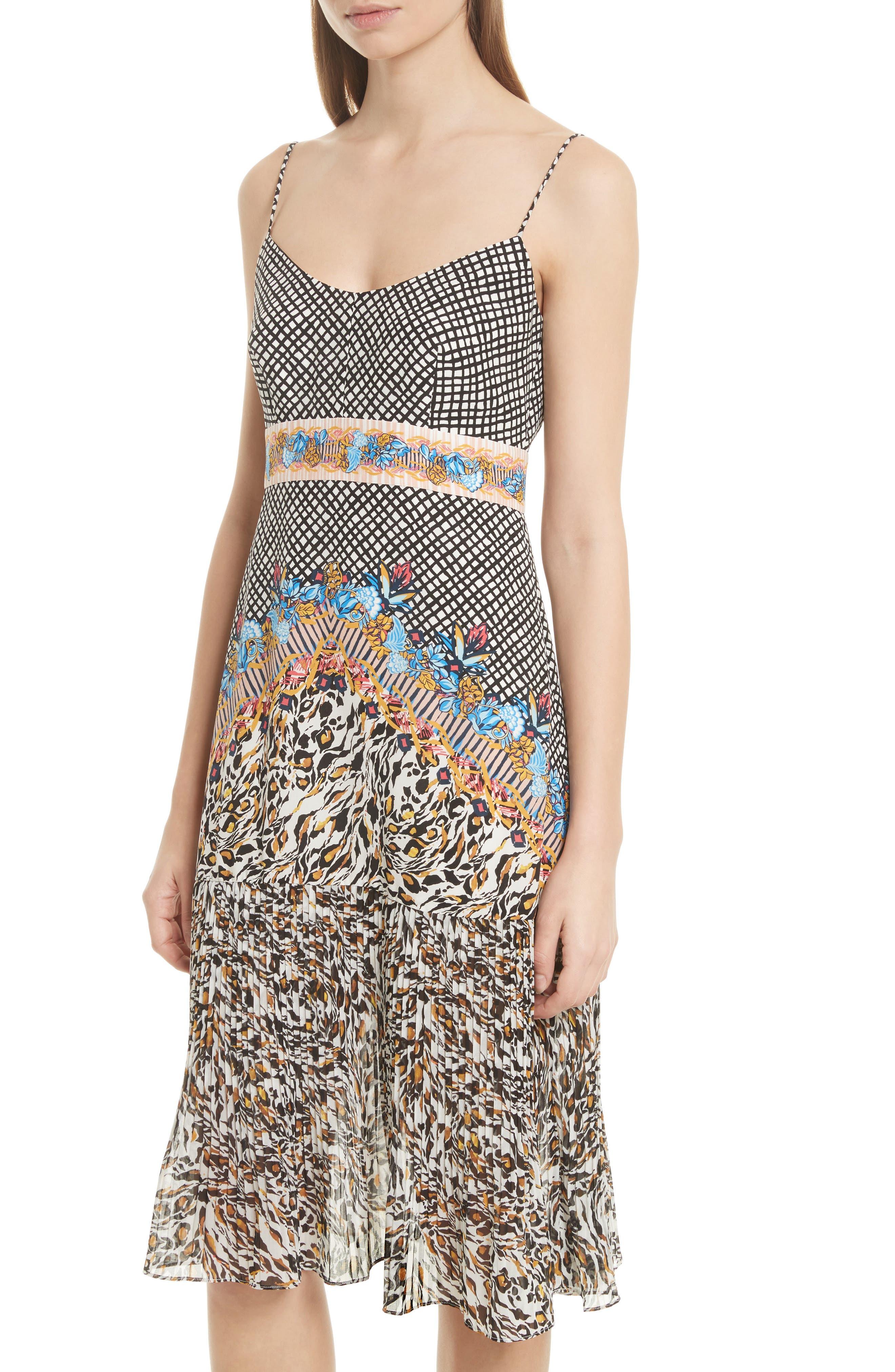 Veronica Print Silk Dress,                             Alternate thumbnail 4, color,                             Mustard Leopard